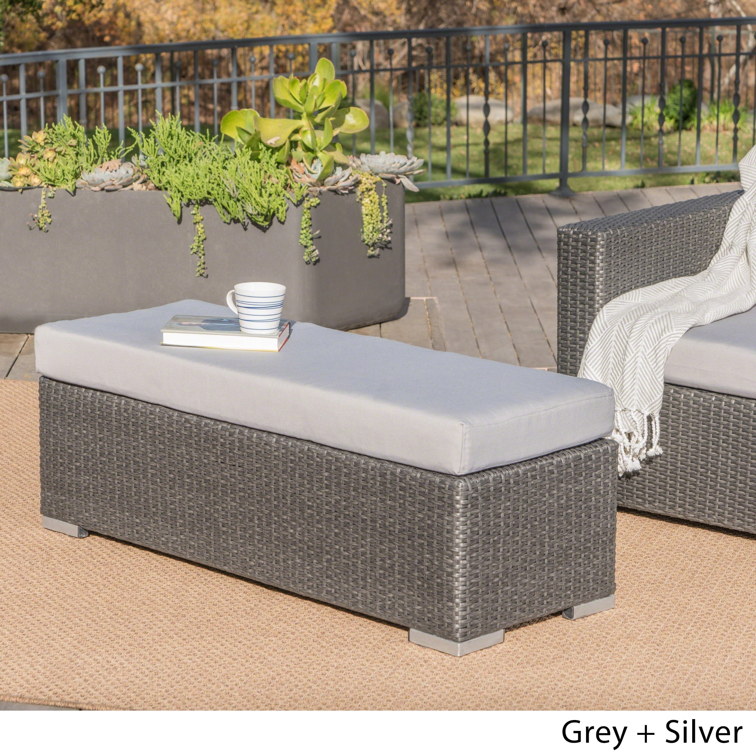 437acda28aa Shop Santa Rosa Outdoor Wicker Bench with Cushion by Christopher Knight  Home - Free Shipping Today - Overstock - 19500157