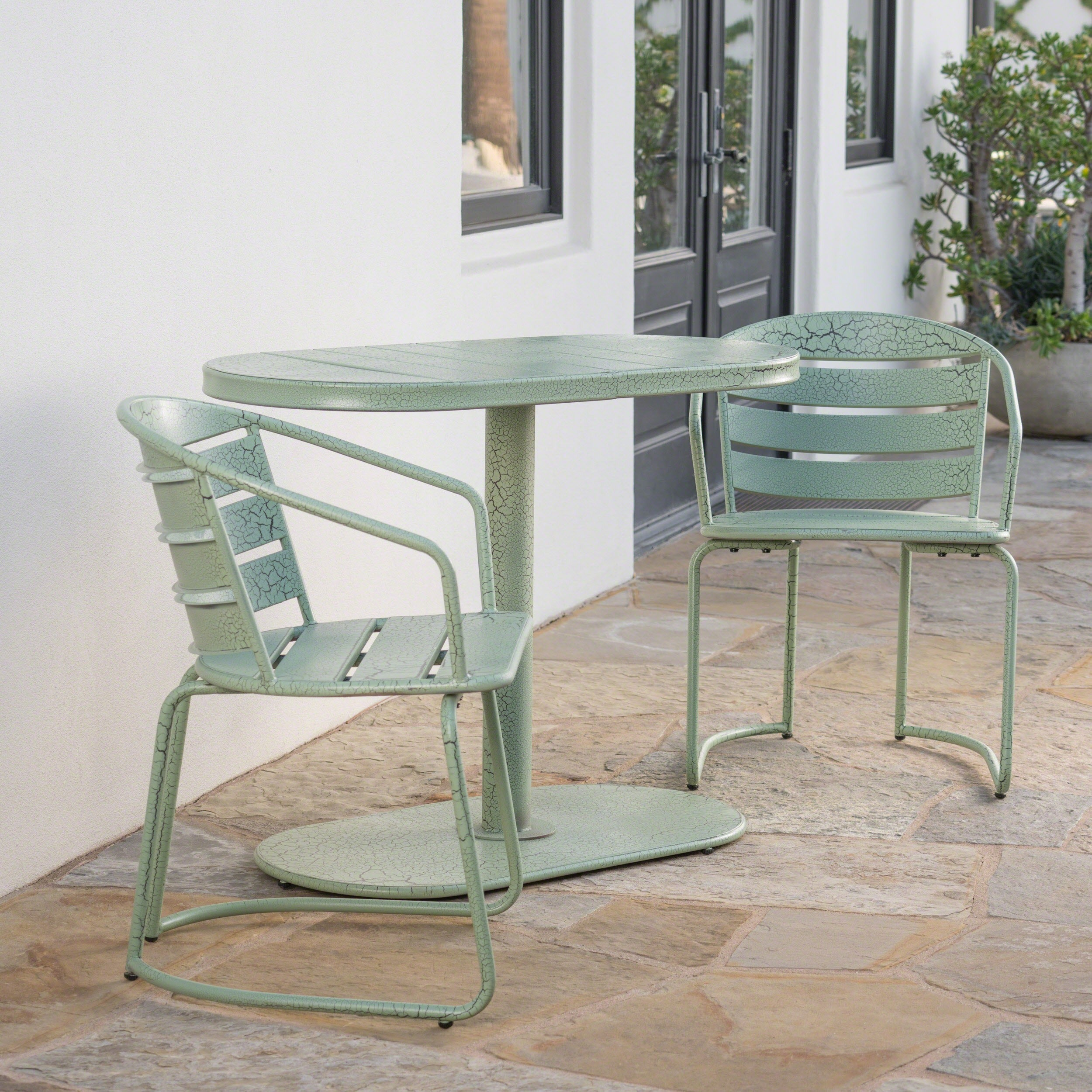 Shop santa monica outdoor 3 piece oval bistro chat set by christopher knight home on sale free shipping today overstock 19502001