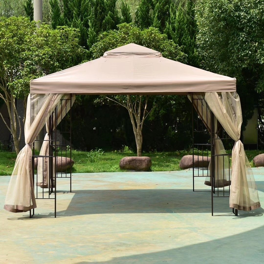 Shop Outdoor 10u0027x10u0027 Gazebo Canopy Shelter Awning Tent Patio Garden New    Free Shipping Today   Overstock.com   19502139