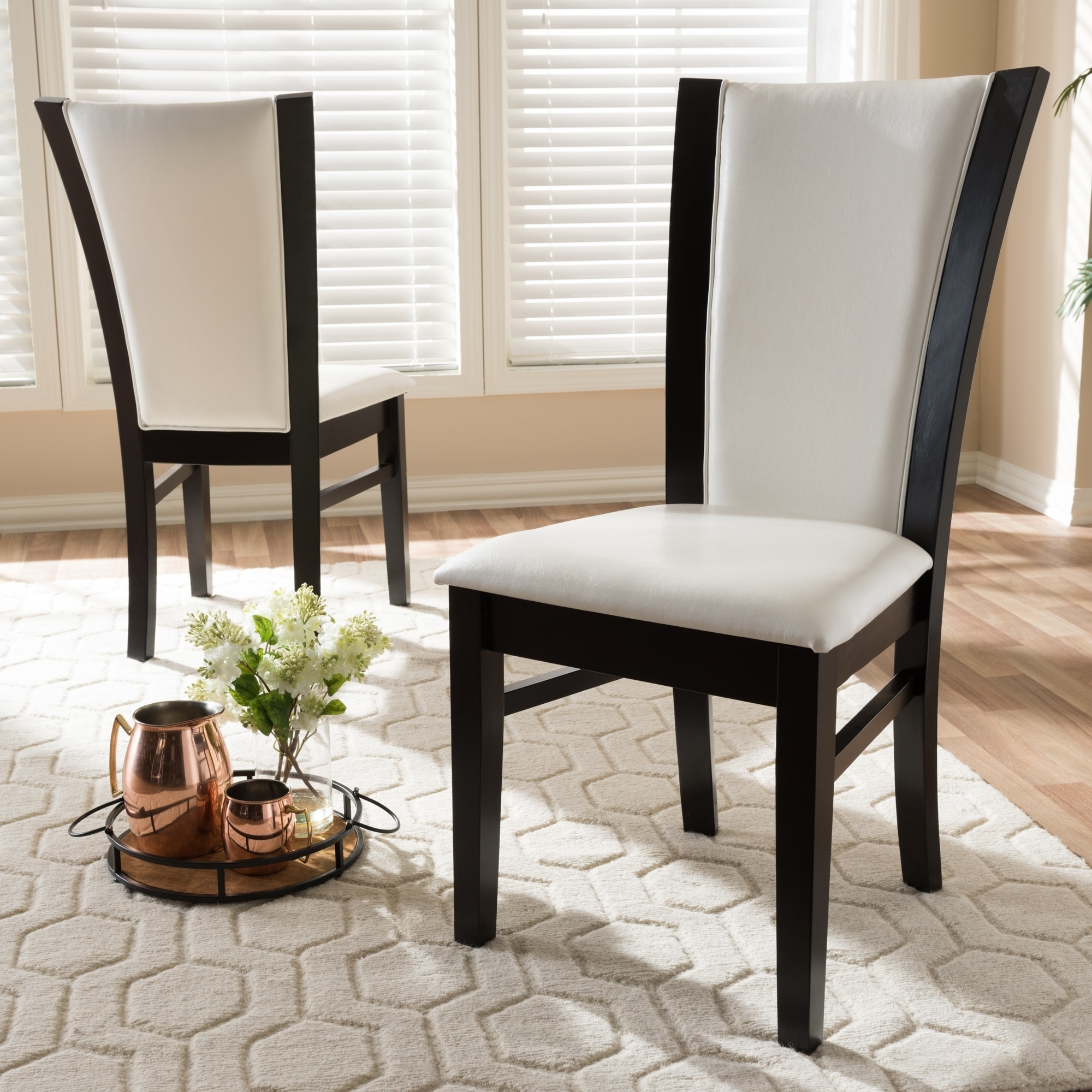 Shop Contemporary White Faux Leather Dining Chair Set By Baxton