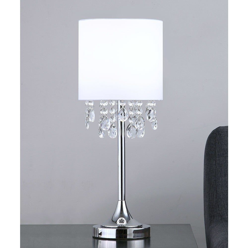 Florence 22 H Crystal Pendants Table Lamp White Overstock 19503123