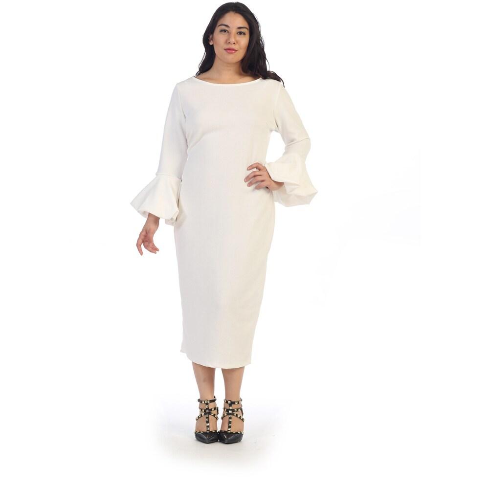 Ruffle Bell Sleeve Plus Size Dress