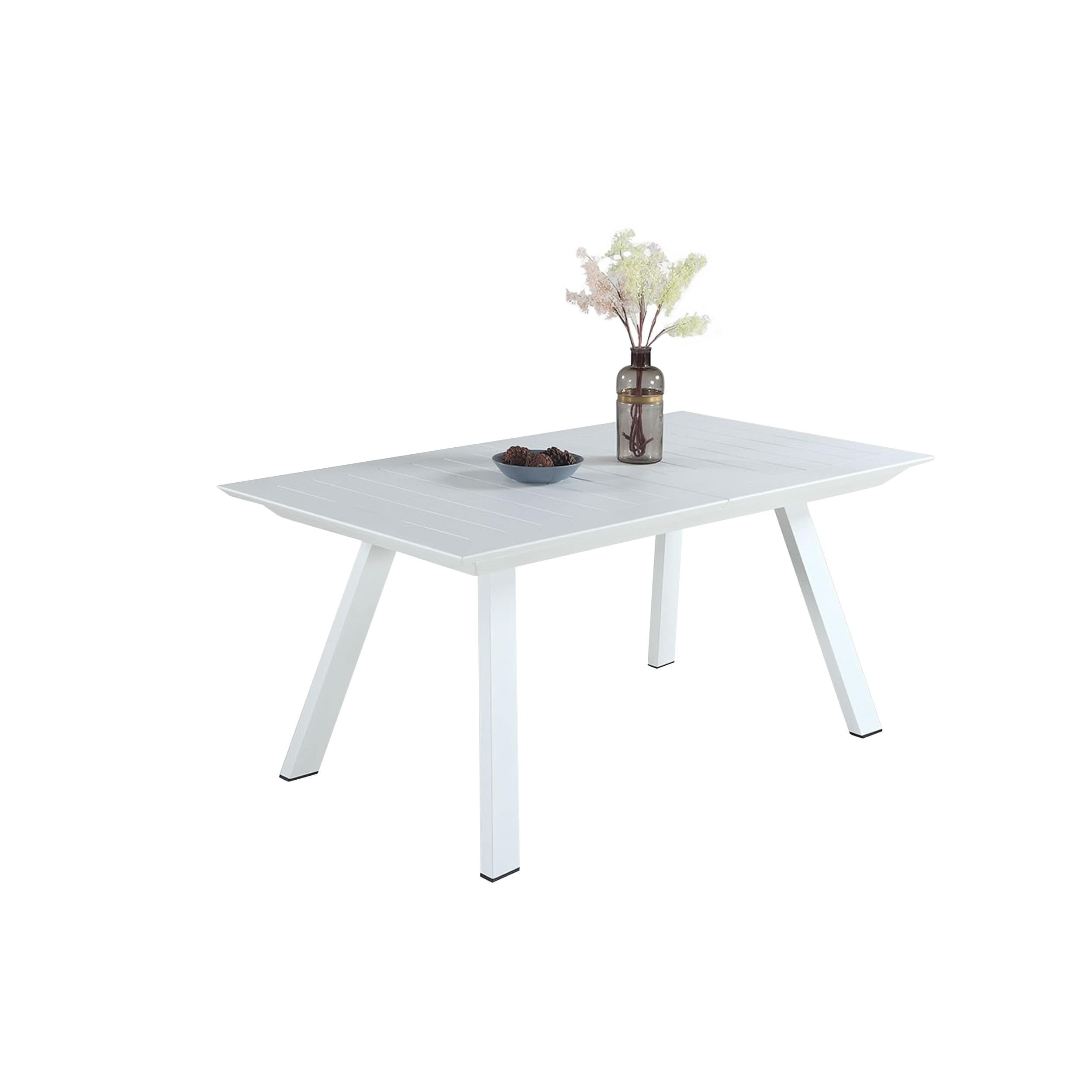 Shop Somette Melbourne Matte White Dining Set With Extension Table And 4 Low Back Chairs
