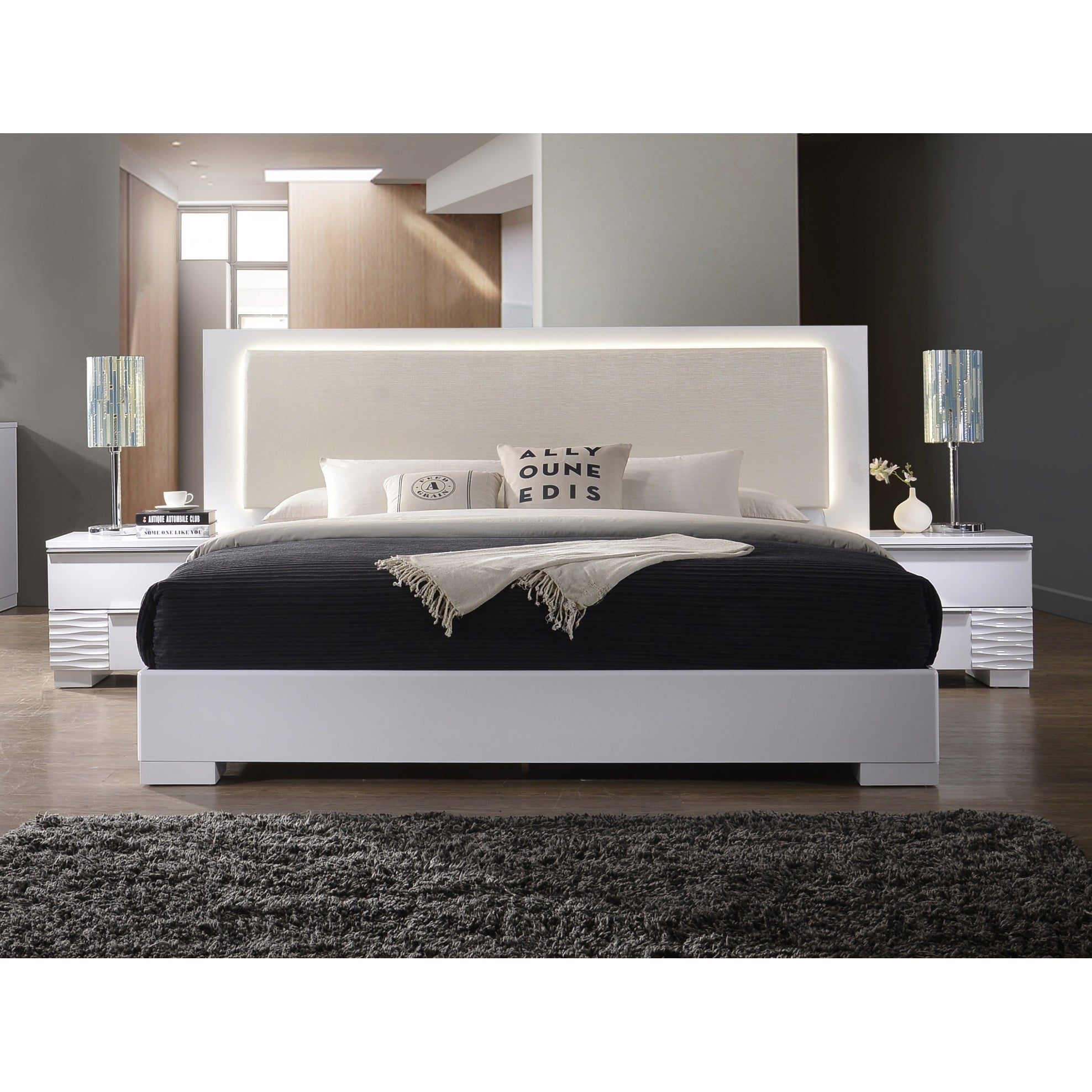 Best Master Furniture Athens White with LED Lighting Platform Bed ...