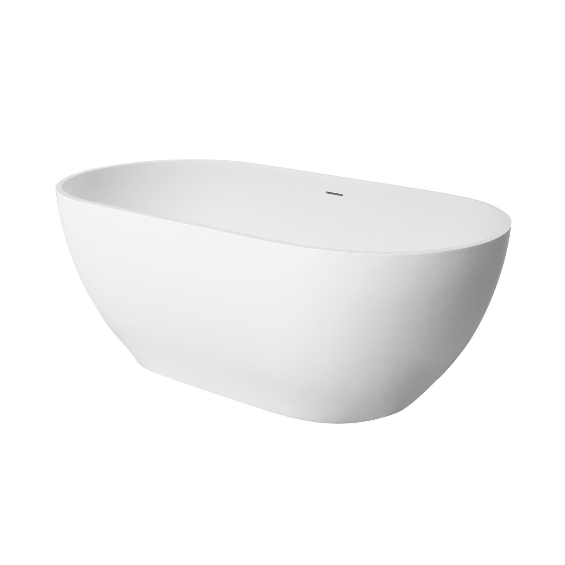 Shop Maykke 60-Inch Faro Solid Surface Freestanding Tub, Matte White ...