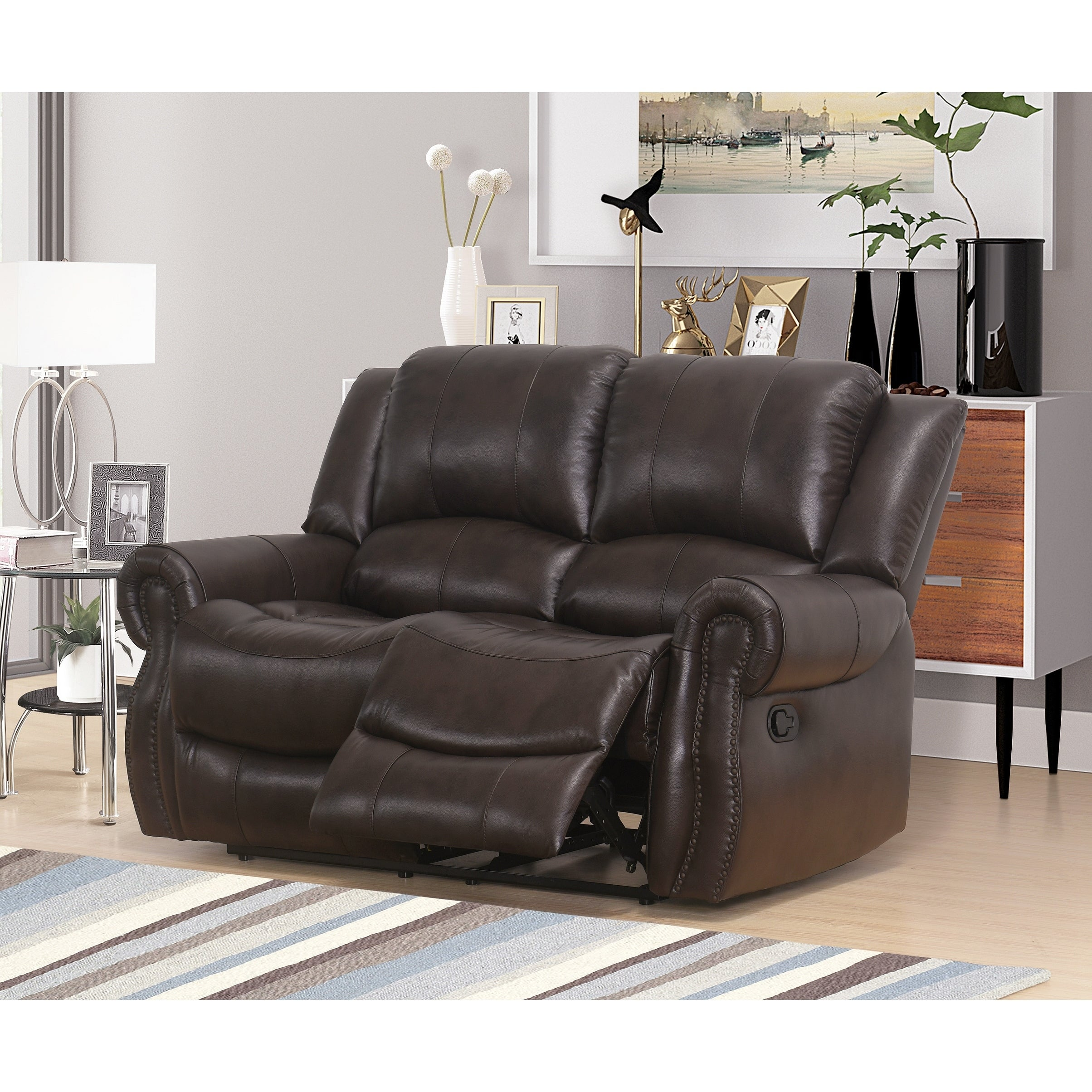 Abbyson Bradford Reclining Brown 3 Piece Faux Leather Living Room