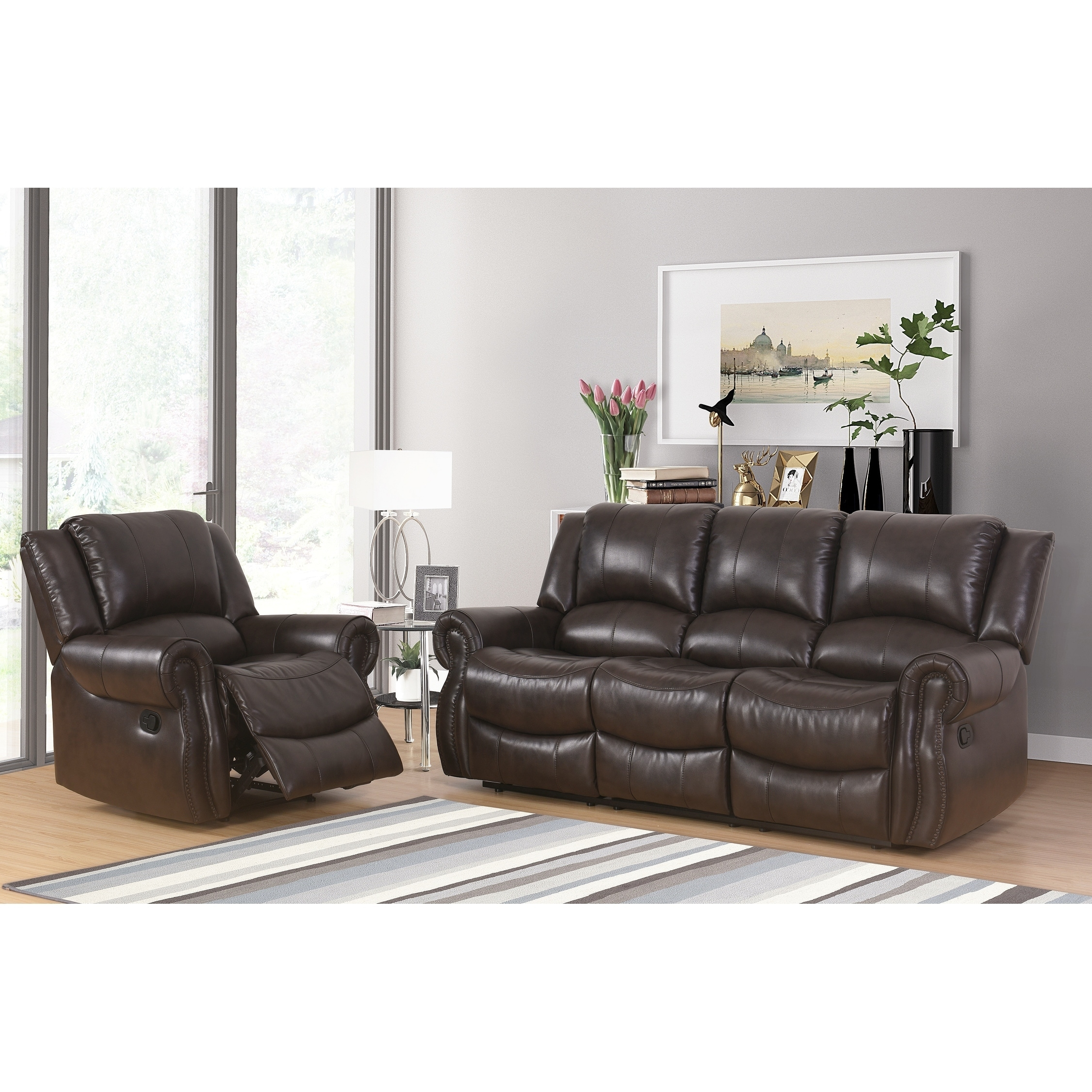 Abbyson Bradford Brown 2 Piece Faux Leather Living Room Set - Free ...