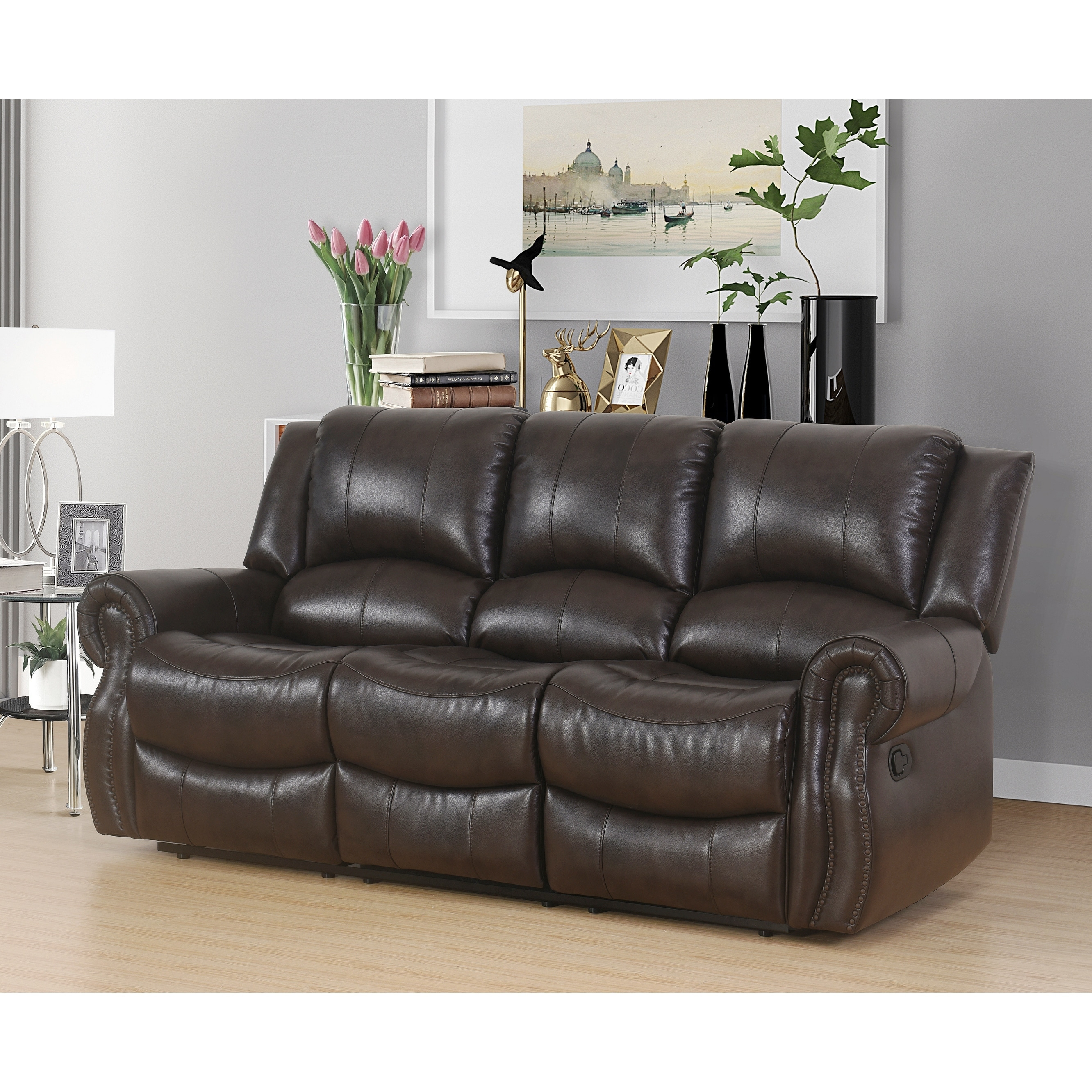 Shop Abbyson Bradford Brown Faux Leather Reclining Sofa - On Sale ...