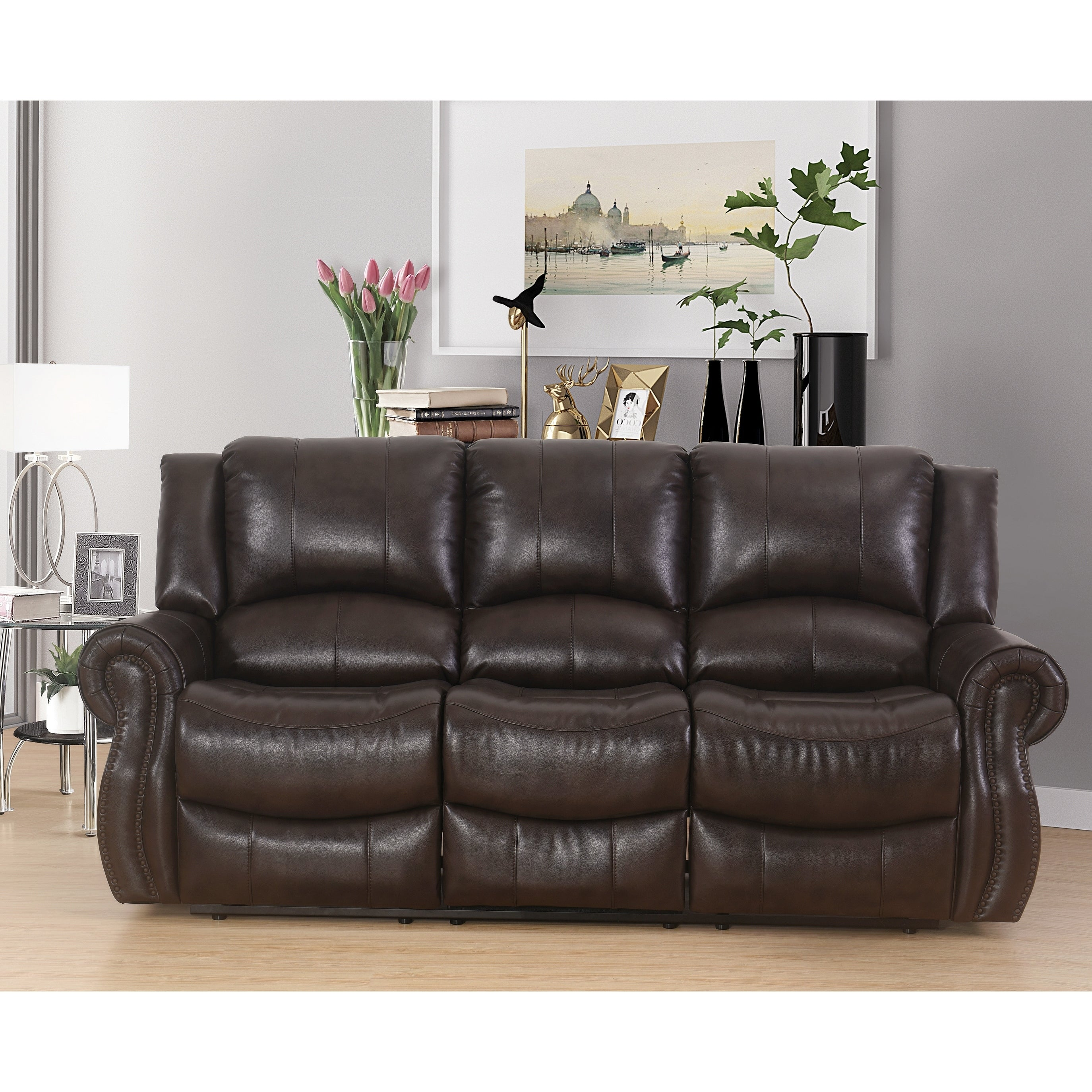 Shop Abbyson Bradford Brown Faux Leather Reclining Sofa On Sale