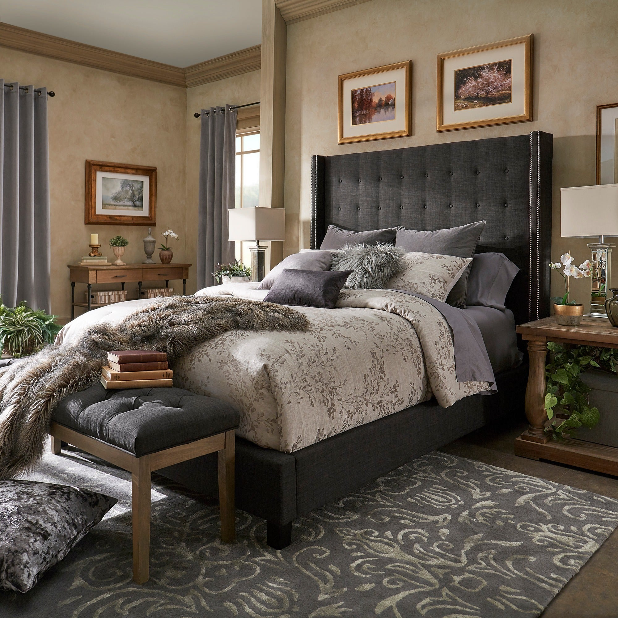 Marion Nailhead Wingback Tufted Tall Headboard Platform Bed by iNSPIRE Q  Bold - Free Shipping Today - Overstock.com - 25504157