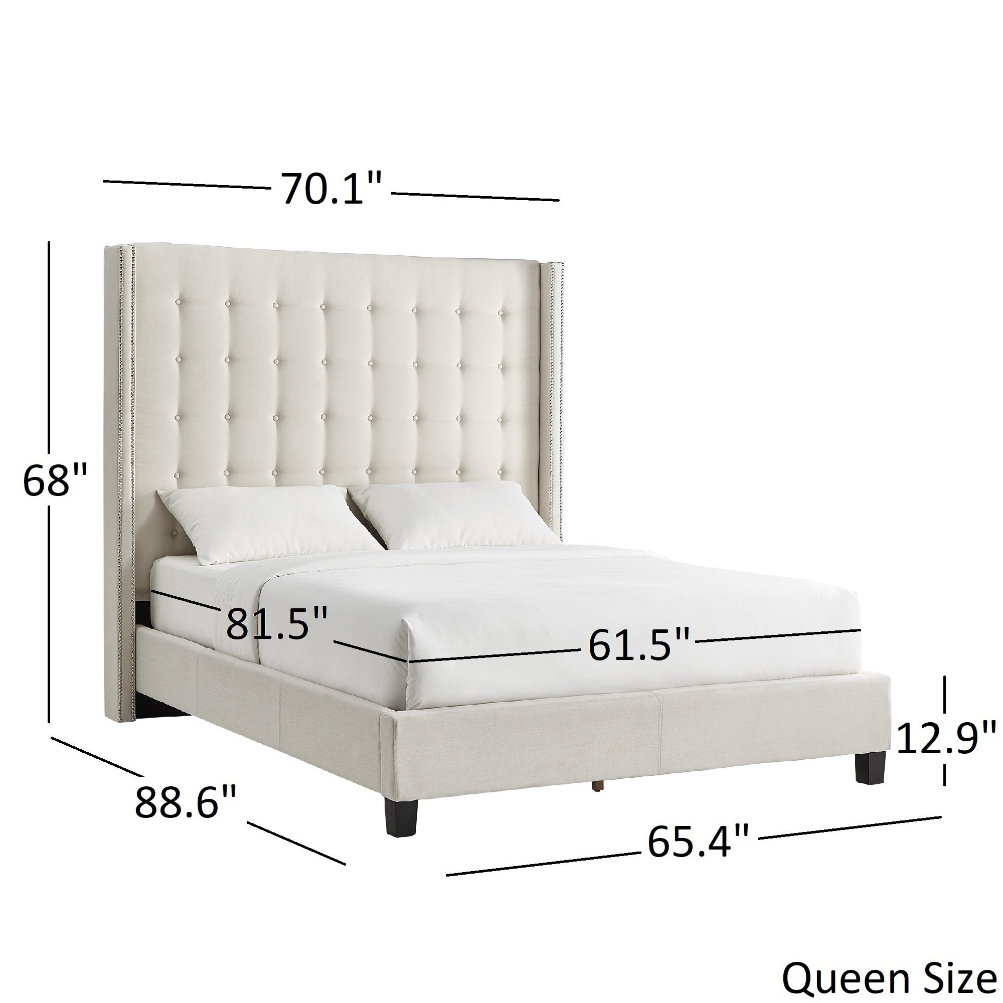 Marion Nailhead Wingback Tufted Tall Headboard Platform Bed By INSPIRE Q  Bold   Free Shipping Today   Overstock   25504157