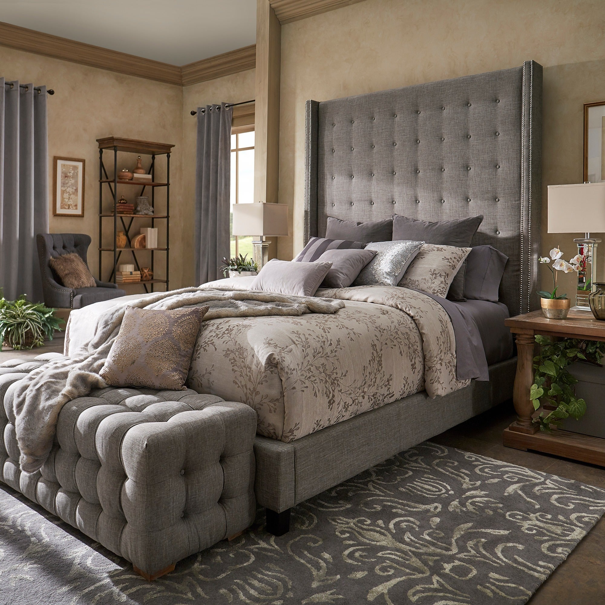 Marion Nailhead Wingback Tufted 84-Inch High Headboard Bed by iNSPIRE Q  Bold - Free Shipping Today - Overstock.com - 25504307