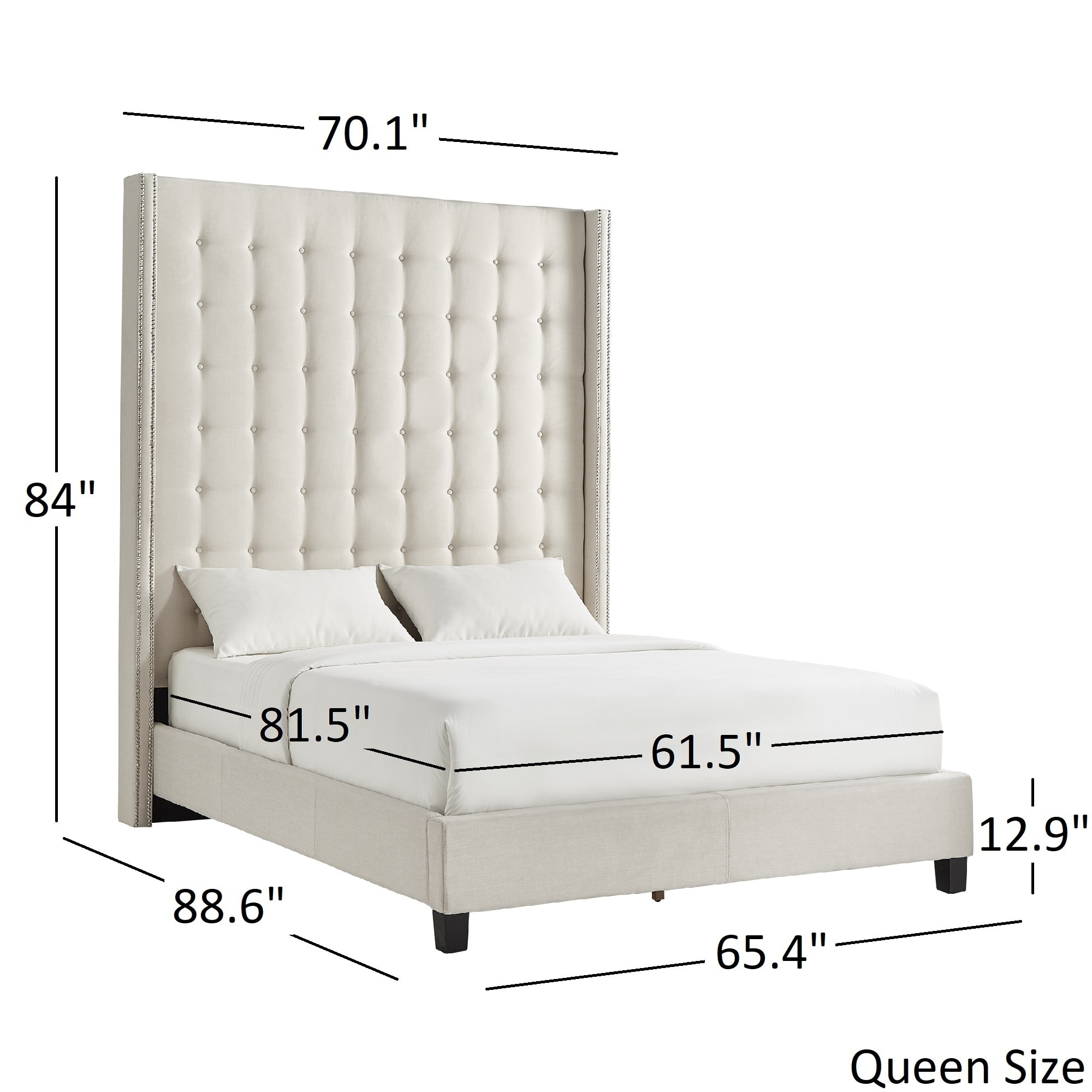 Best Marion Nailhead Wingback Tufted 84-Inch High Headboard Bed by  OD23
