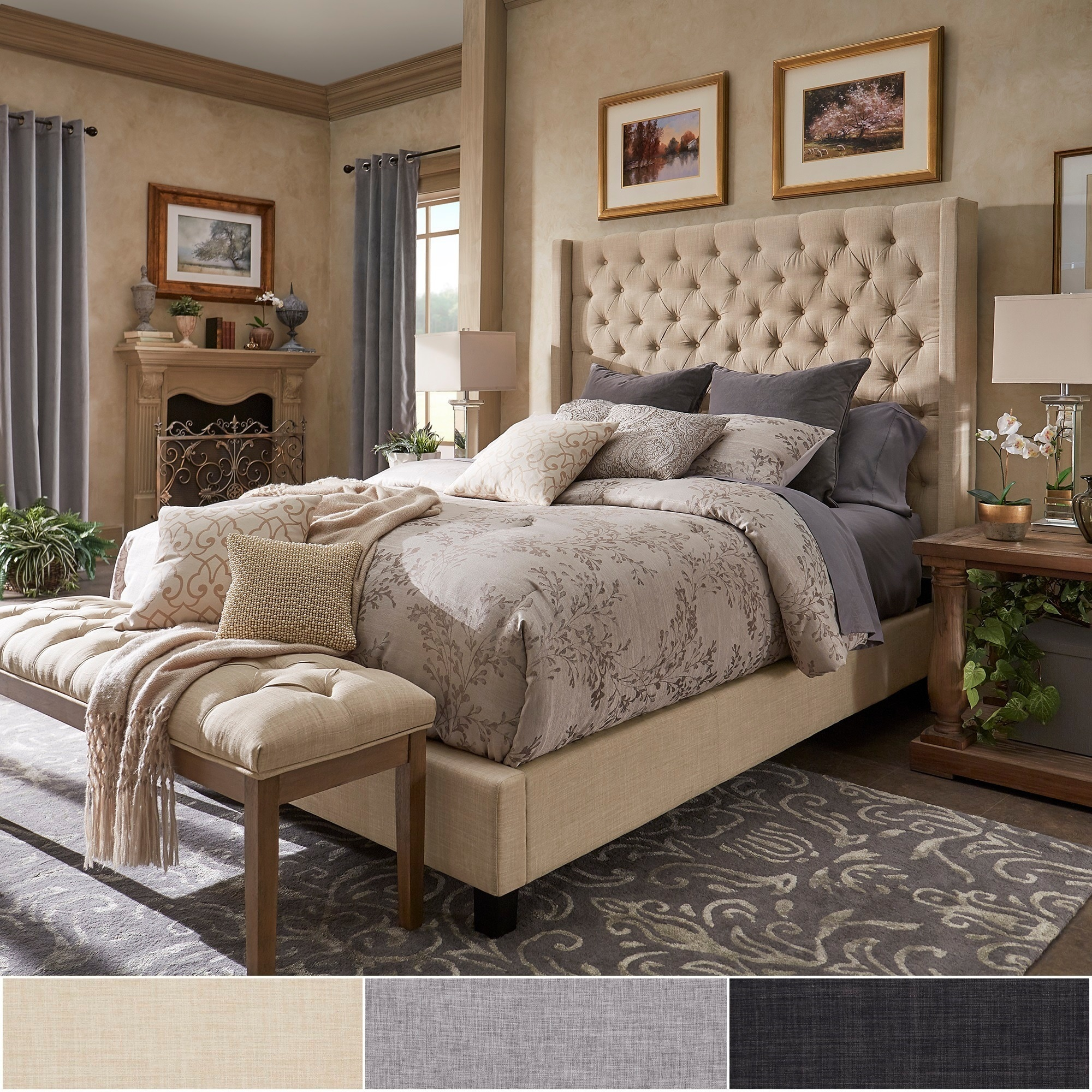 Naples Wingback On Tufted Tall Headboard Bed By Inspire Q