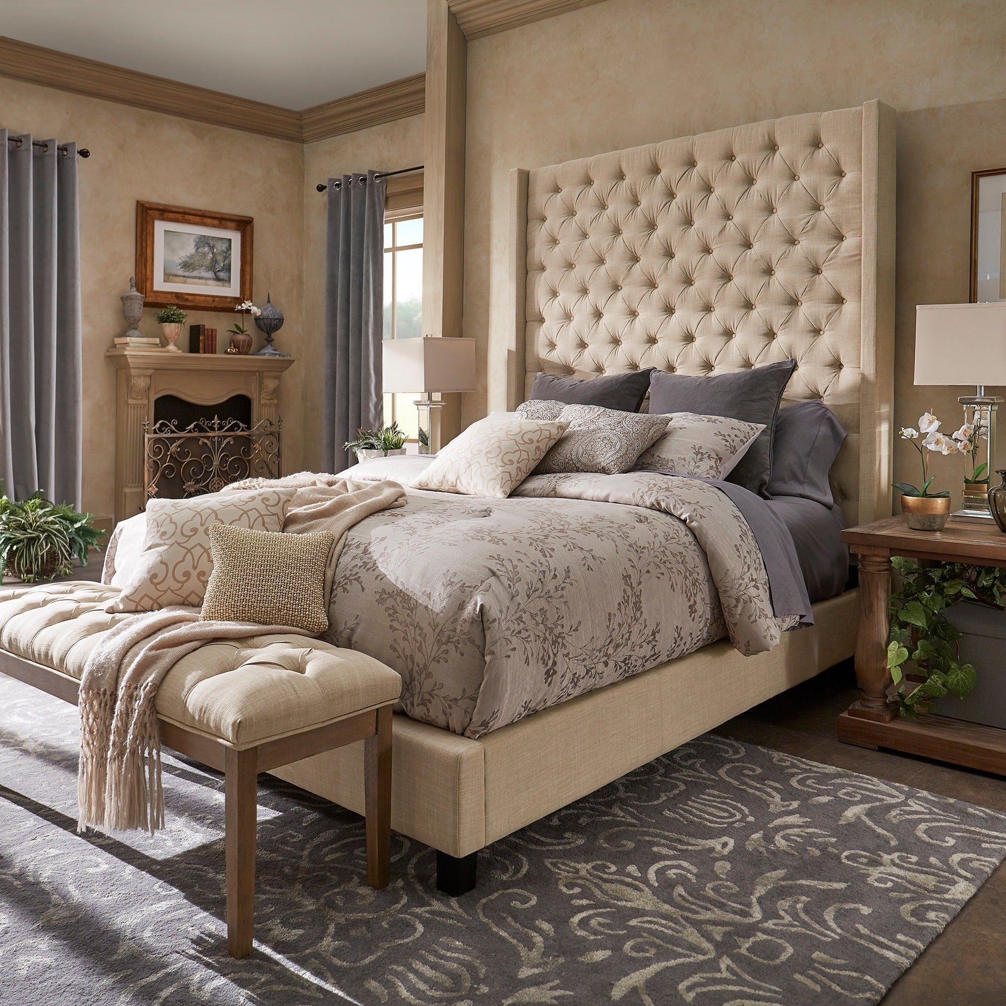 Shop Naples Wingback Button Tufted 84 Inch High Headboard Platform Bed By  INSPIRE Q Artisan   On Sale   Free Shipping Today   Overstock.com   19511682