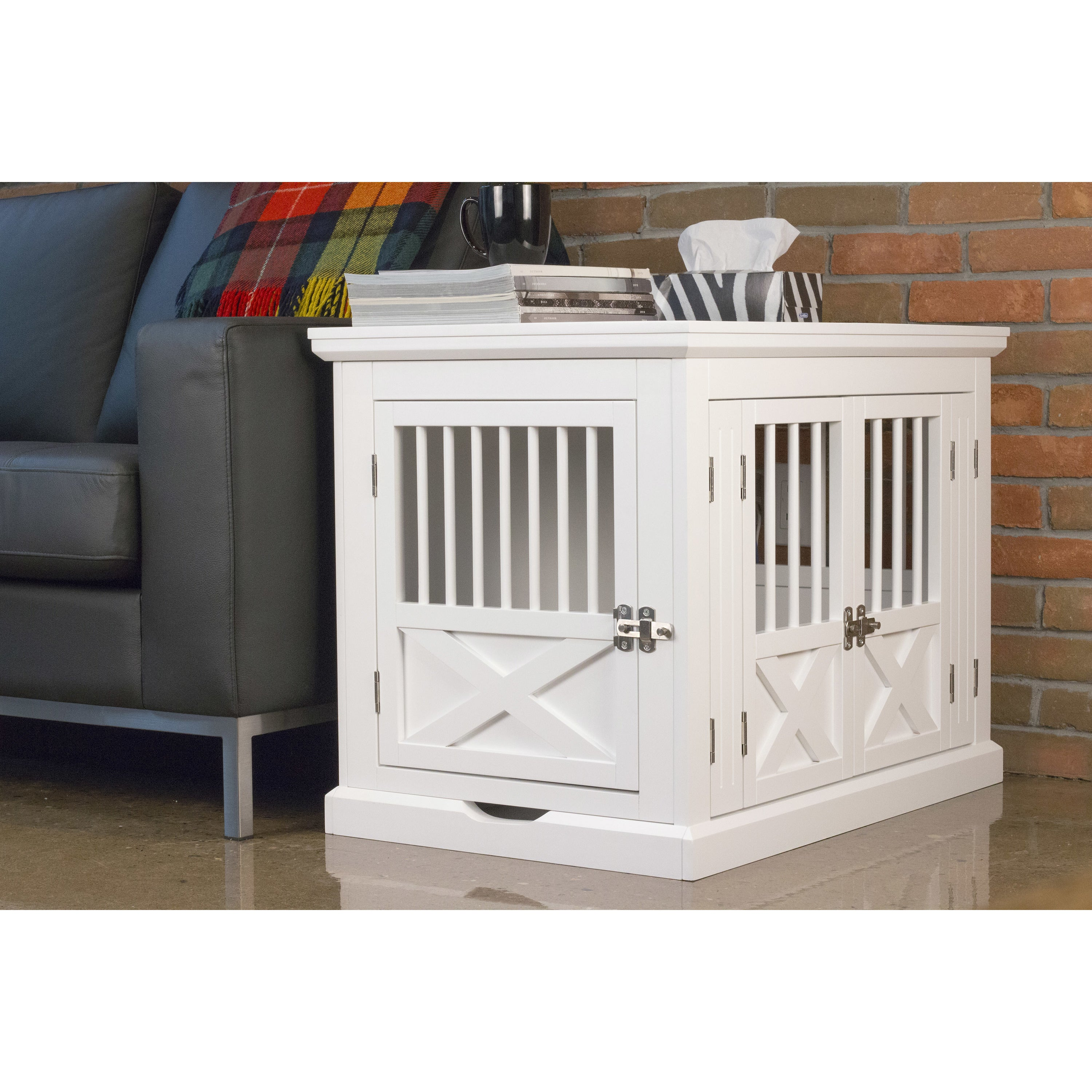 Shop Merry Products White Triple Door Dog Crate And End Table   On Sale    Free Shipping Today   Overstock.com   19511883
