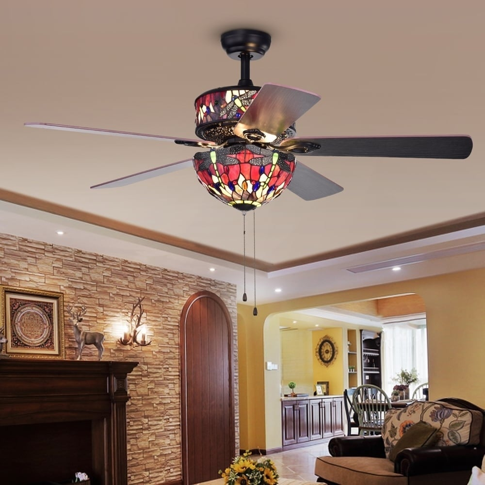 brown with lights light of ceiling laure indoor crystal style fans p black in fan incandescent tiffany warehouse kit finish