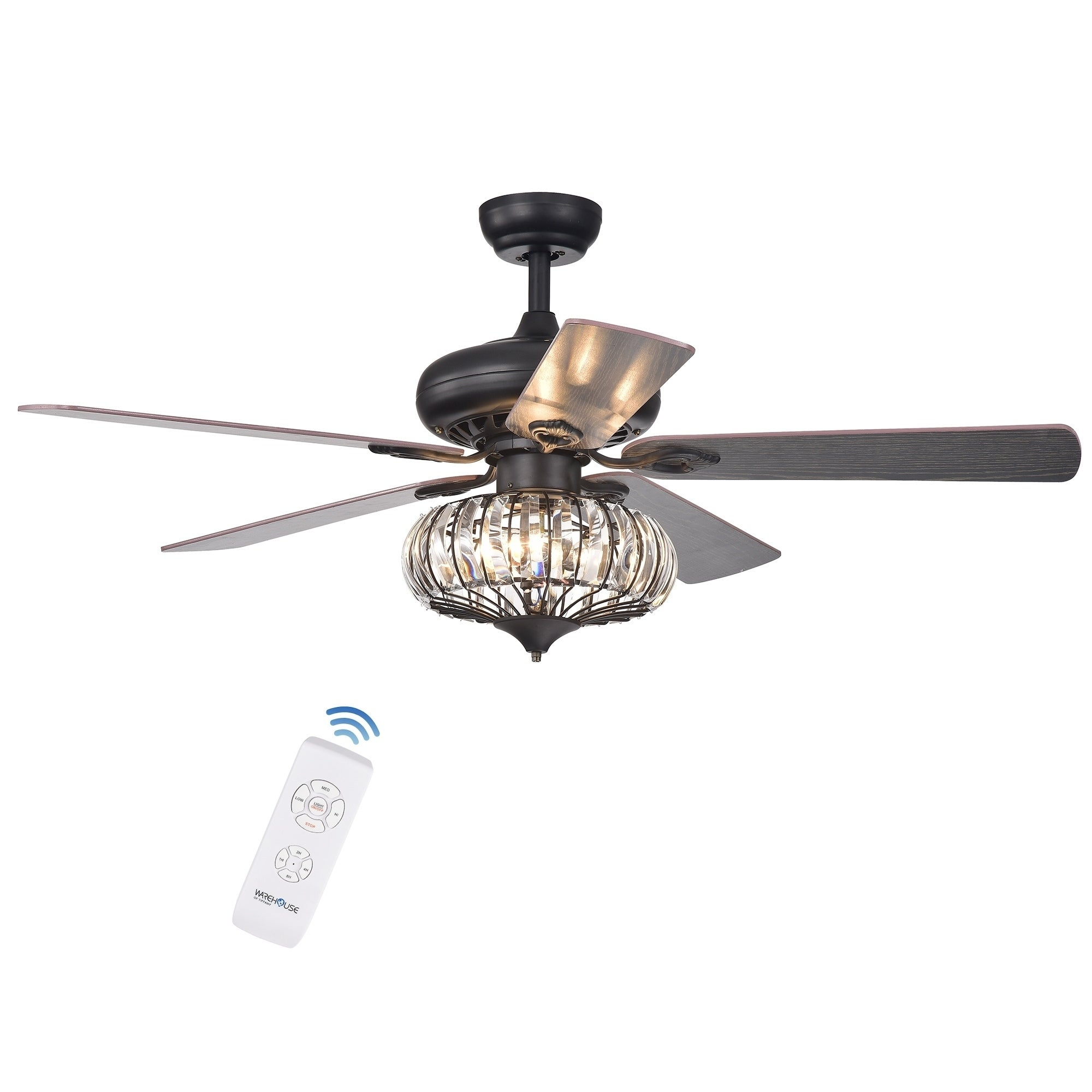Chrysaor 3 Light Crystal 5 Blade 52 Inch Brown Ceiling Fan Optional Remote On Free Shipping Today 19512164