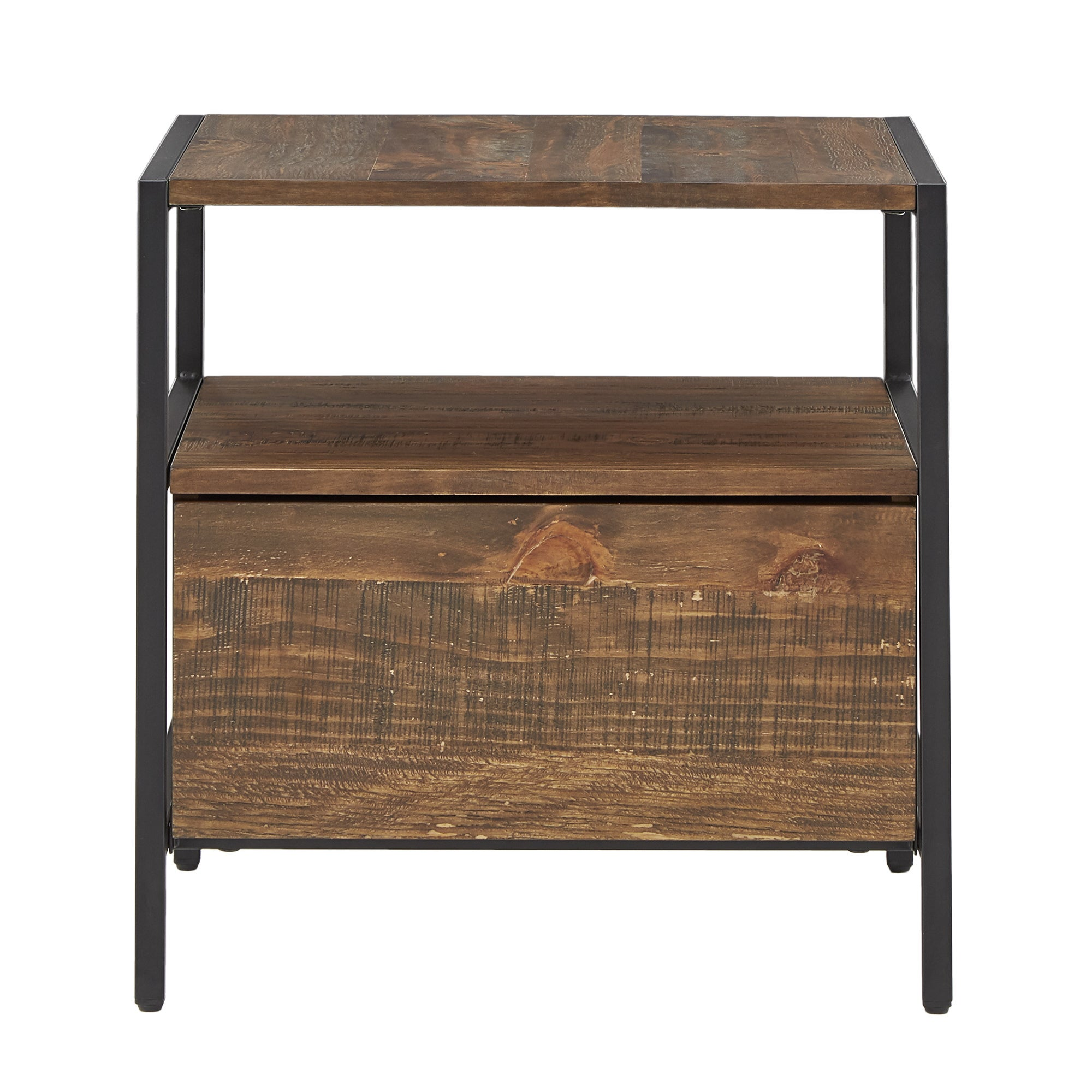 Shop Corey 1 Drawer Rustic Brown End Table By INSPIRE Q Modern   On Sale    Free Shipping Today   Overstock.com   19513215