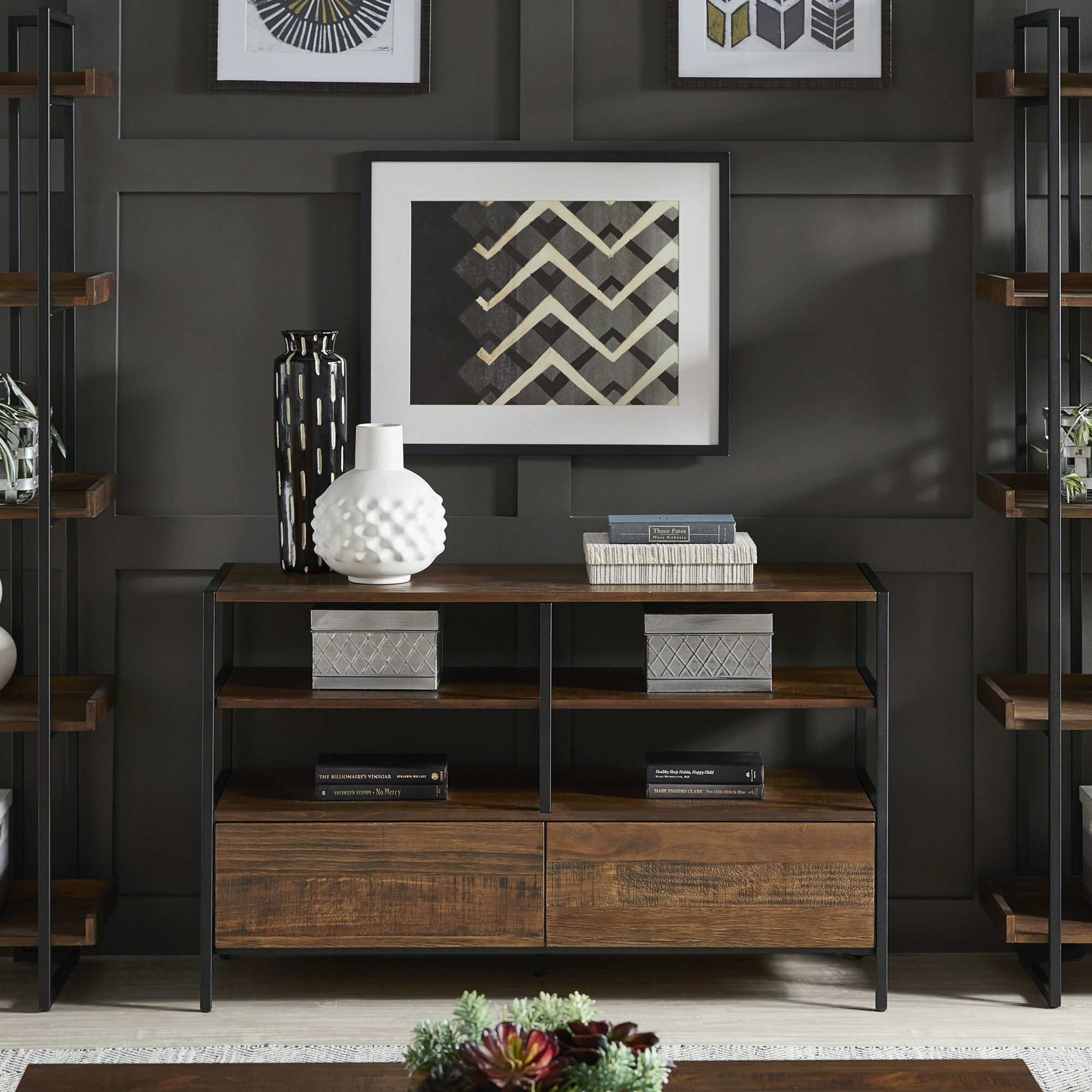 Shop Corey Rustic Brown TV Stand Console Tables By INSPIRE Q Modern   On  Sale   Free Shipping Today   Overstock.com   19513700