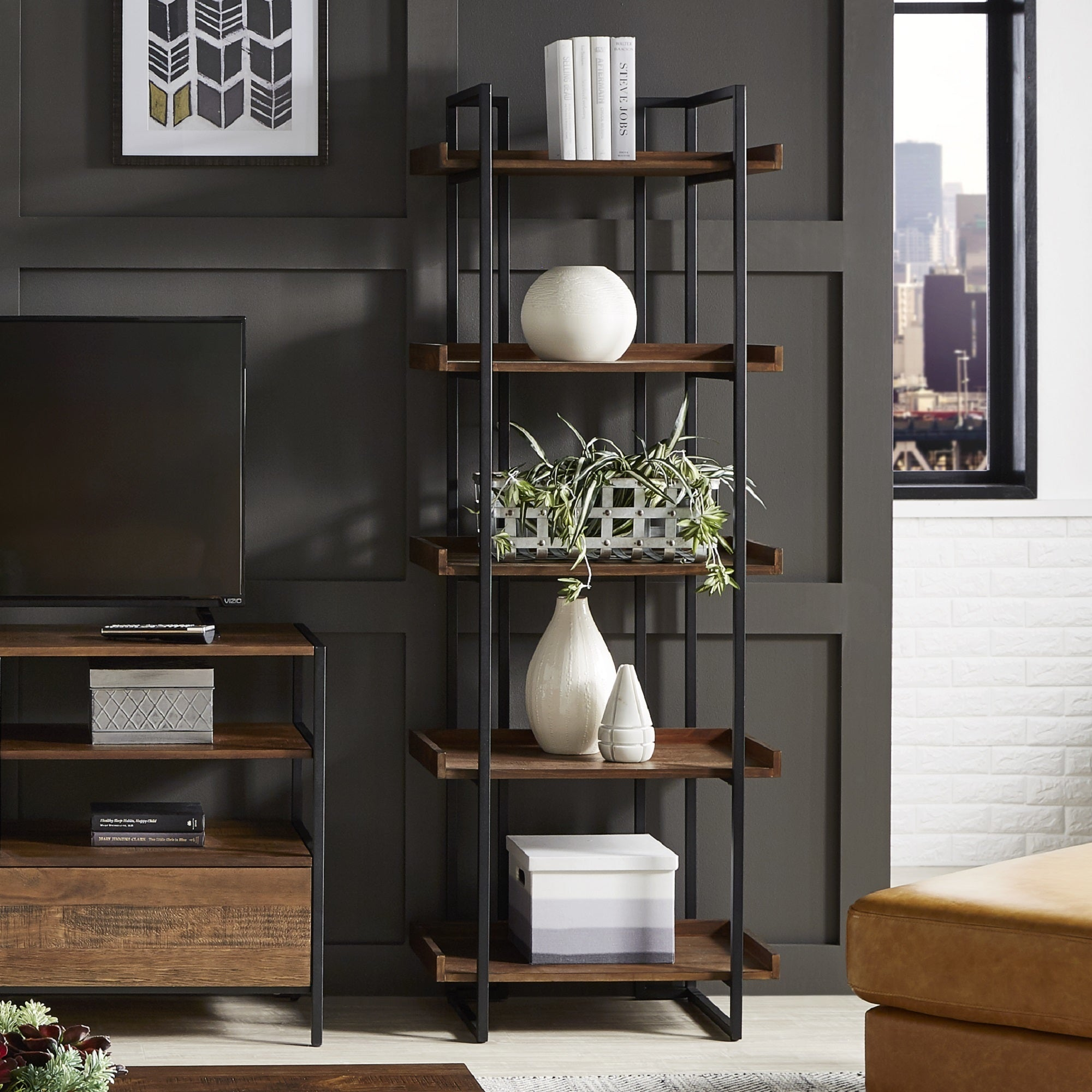Corey Rustic Brown Etagere Bookcases by iNSPIRE Q Modern - Free Shipping  Today - Overstock.com - 25506303