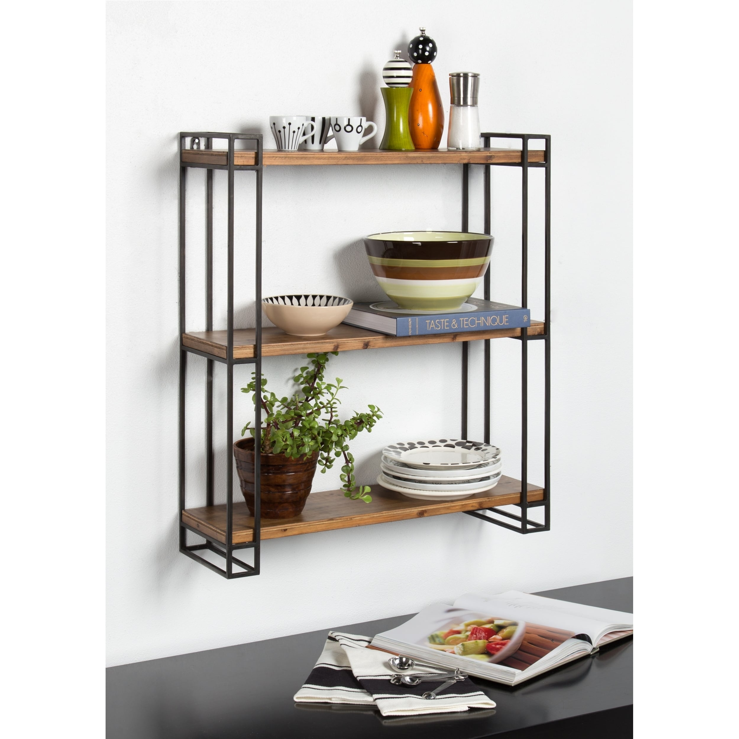 kate and laurel lintz wood and metal floating wall shelves free