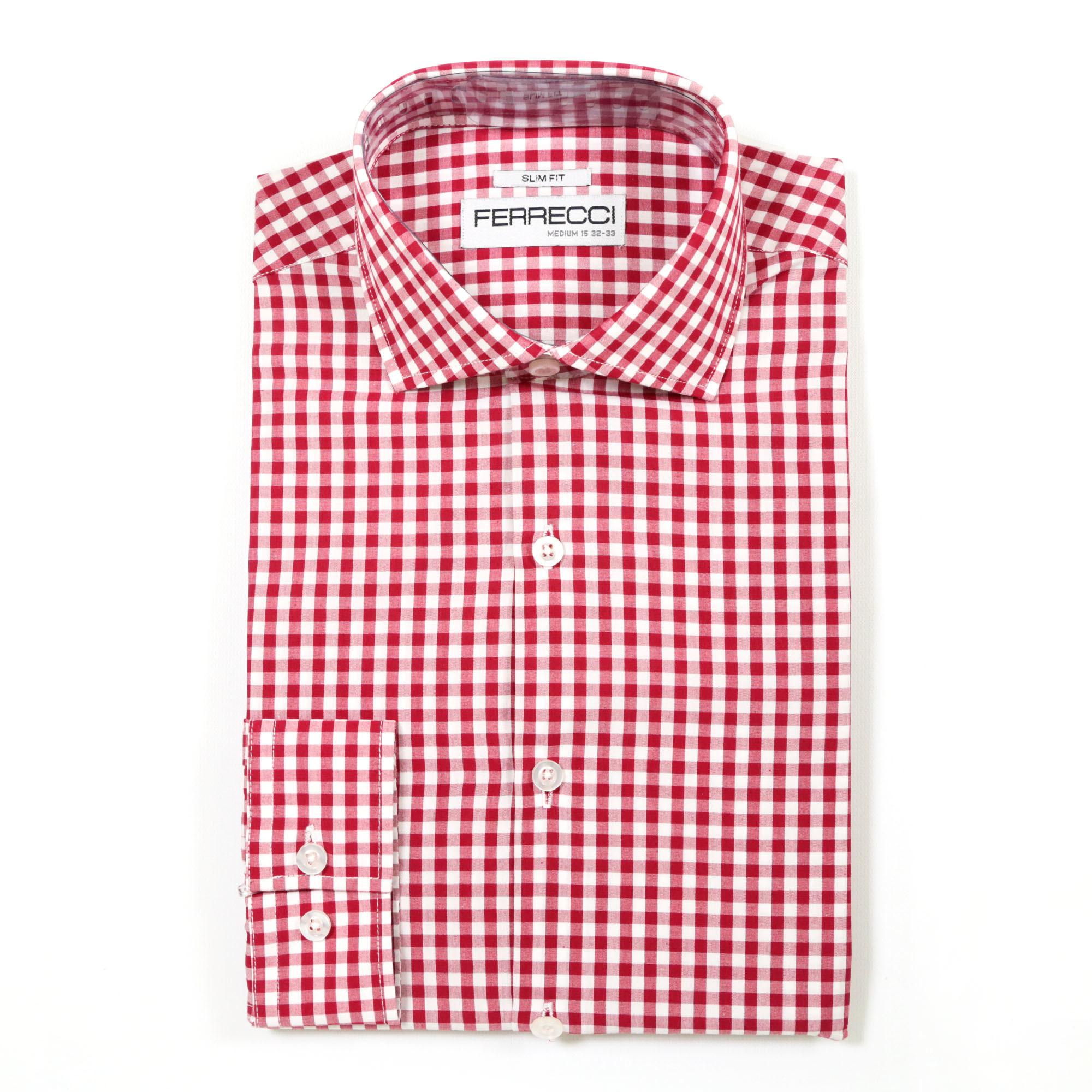 Shop Ferrecci Mens Slim Fit Cotton Gingham Check Dress Shirts Free