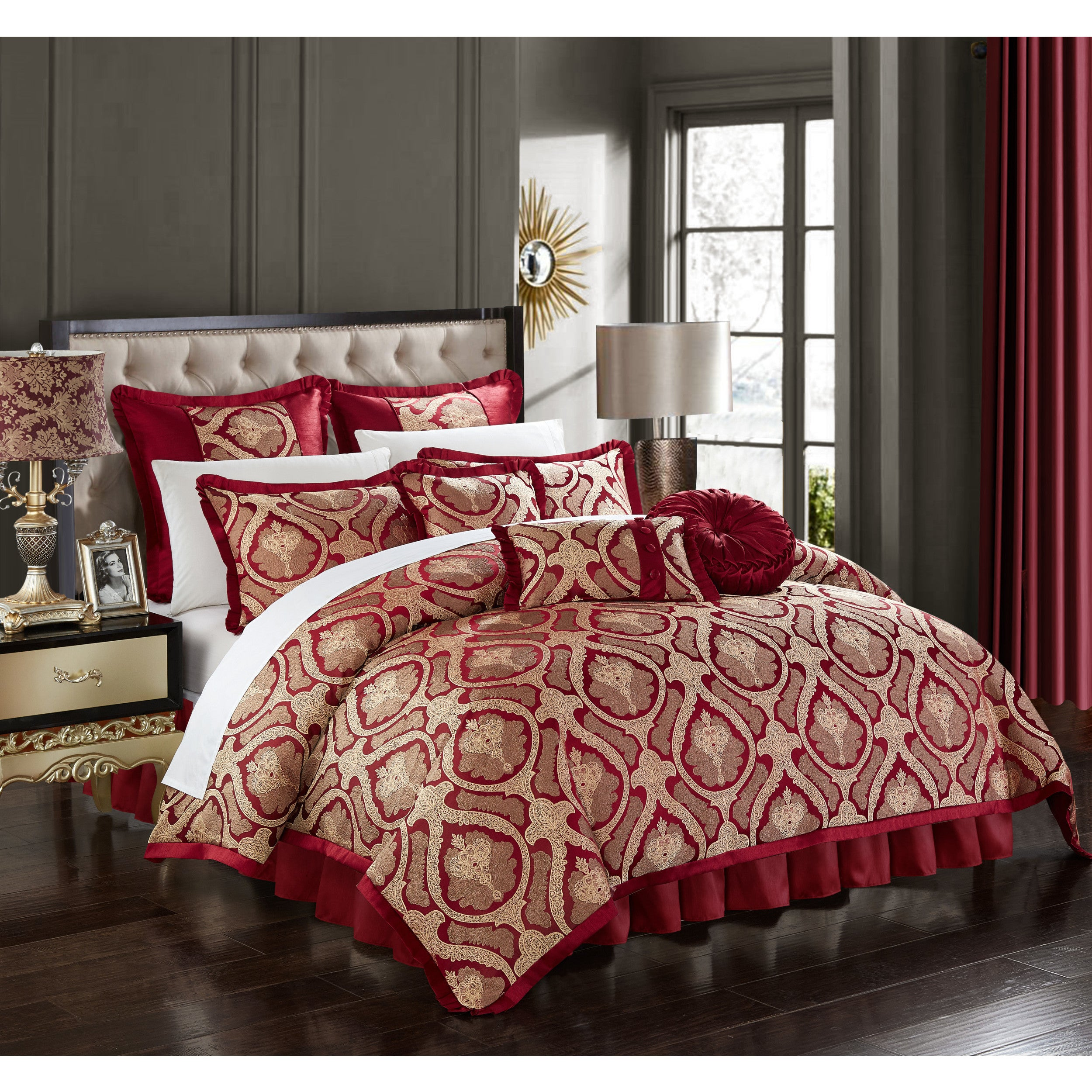 Chic Home Felicci Red Faux Silk Bedding With Pleated Flange 9 Piece  Comforter Set   Free Shipping Today   Overstock   25515250