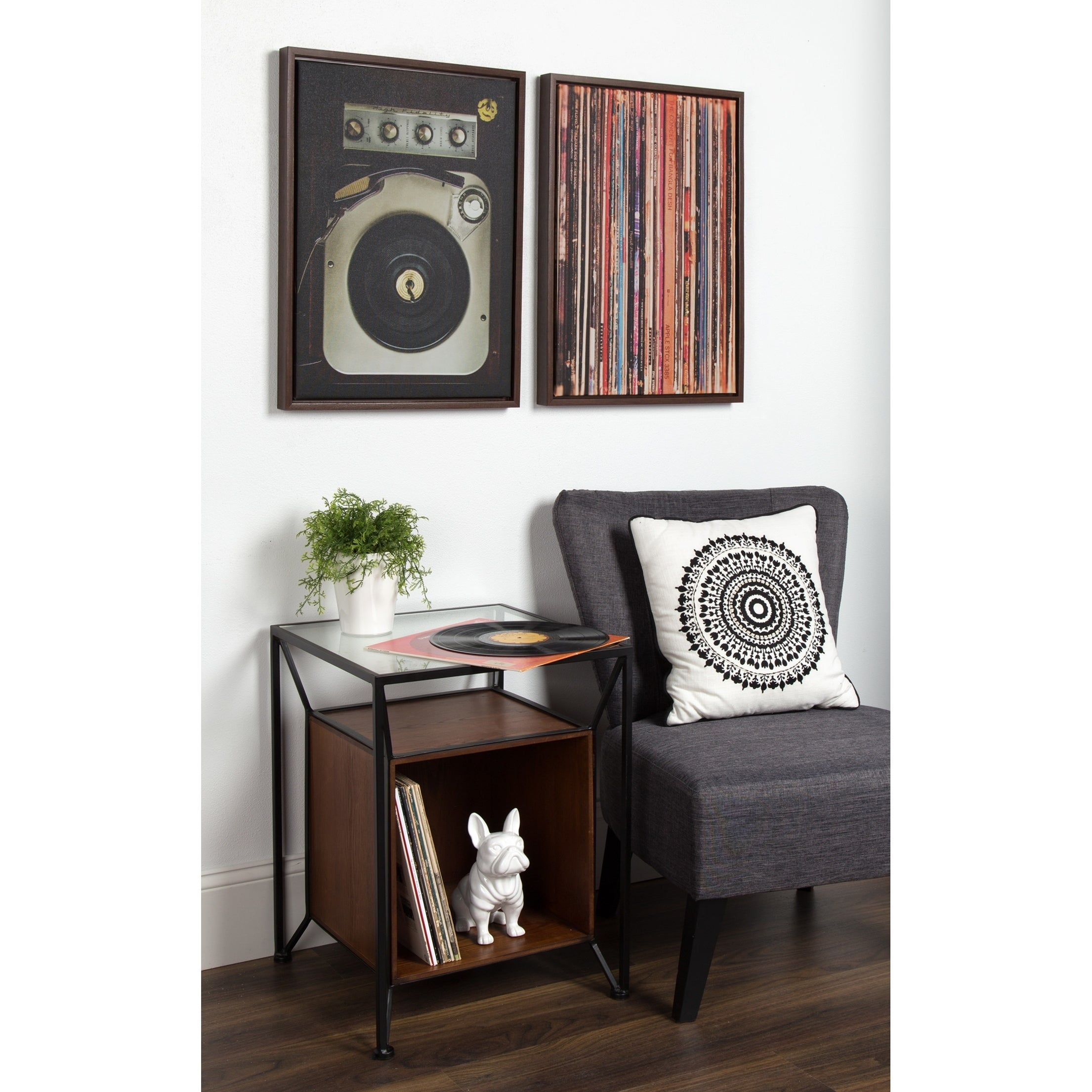 Kate And Laurel Garrod Record Storage End Table   Free Shipping Today    Overstock.com   25516449