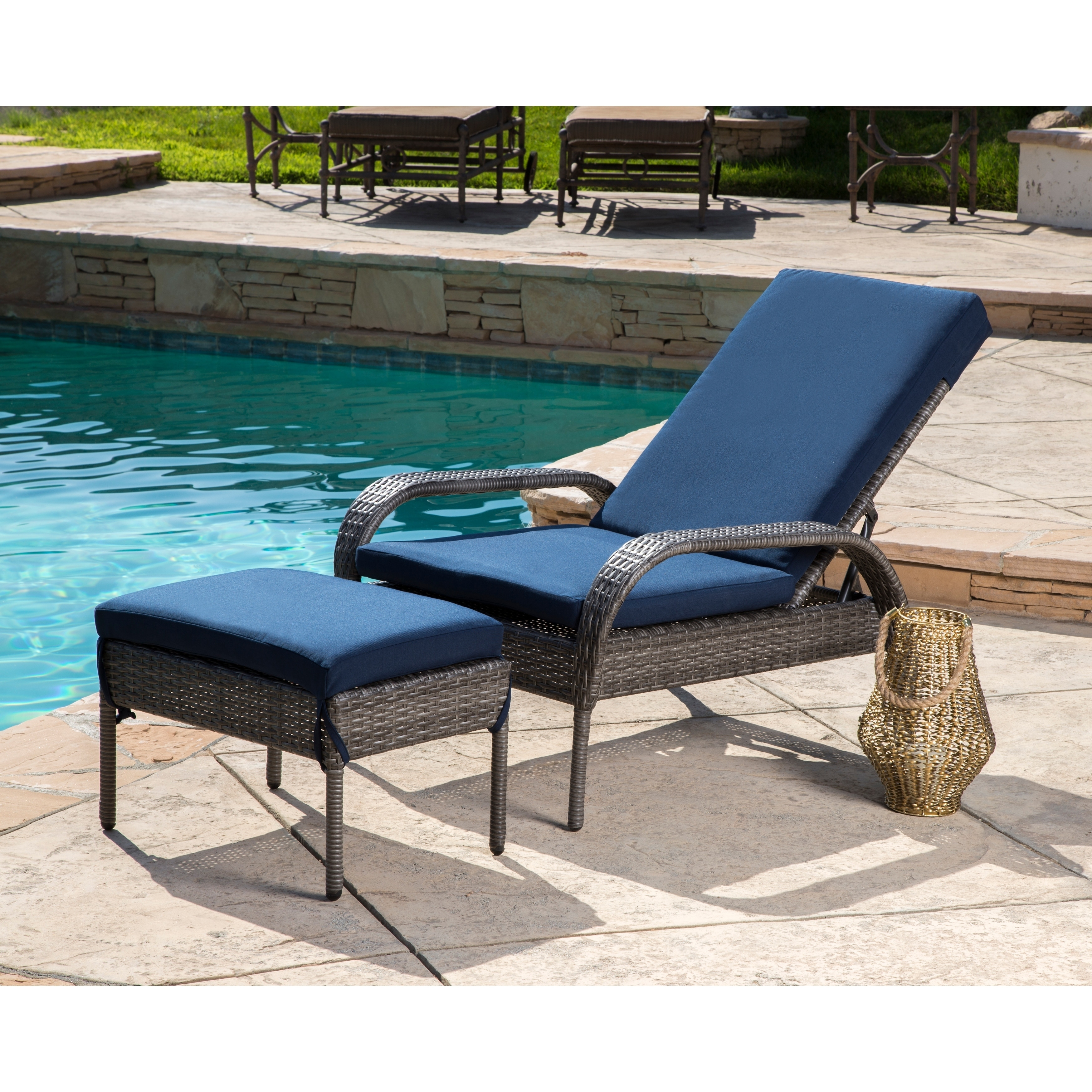 Abbyson Newport Outdoor Wicker Chaise Ottoman Set With Cushions