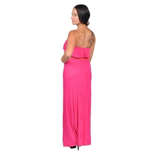 bc9500e43a Shop Womens Tube Top Belted Maxi Dress Pink - Free Shipping On Orders Over   45 - Overstock - 19528610