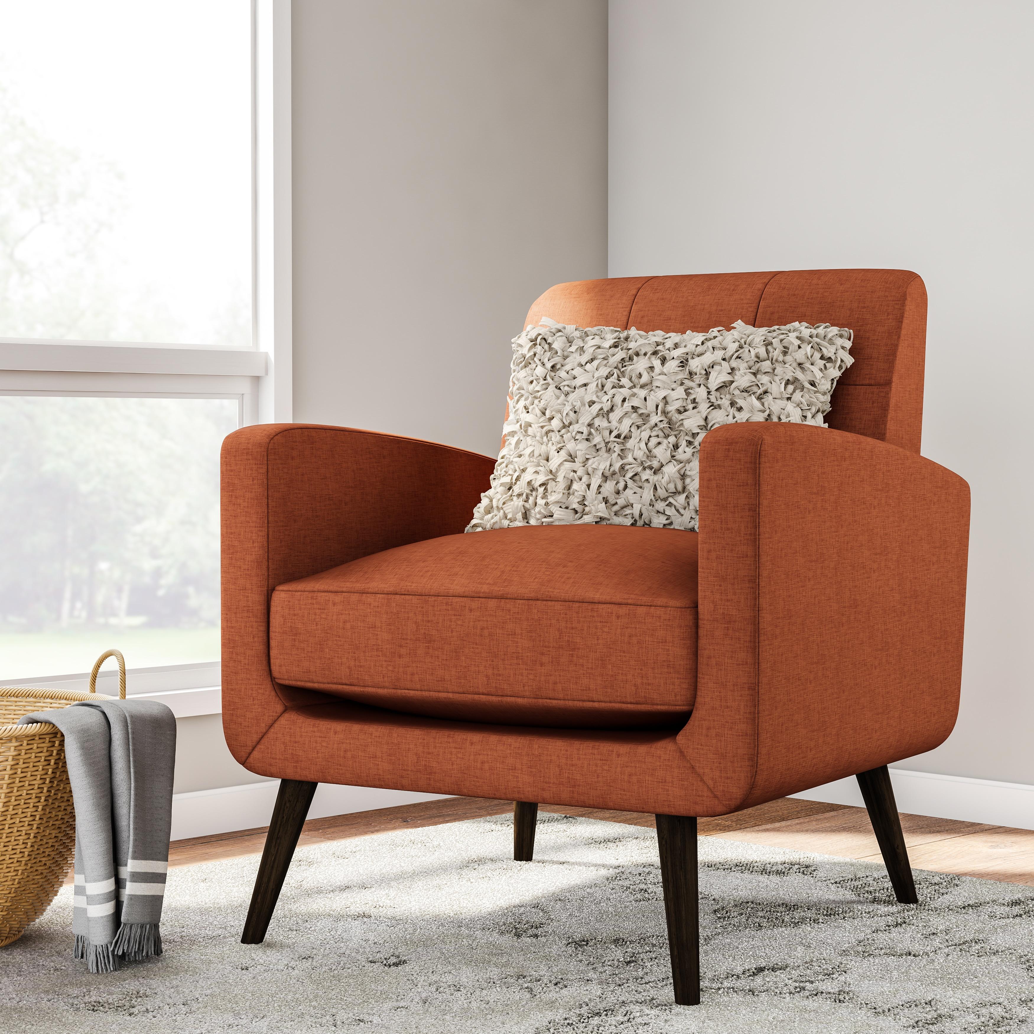 Carson Carrington Keflavik Mid Century Orange Linen Arm Chair  Free
