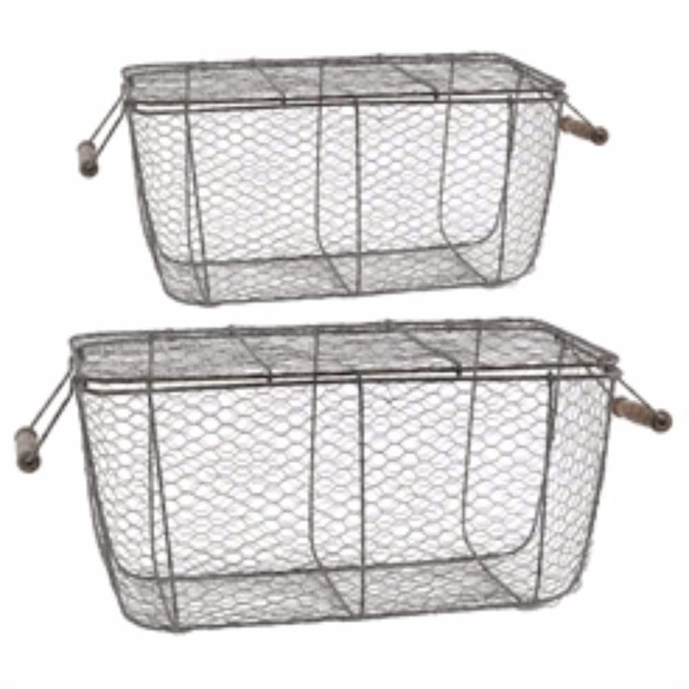 Shop Rectangular Chicken Wire Baskets, Set of 2, Gray - Free ...