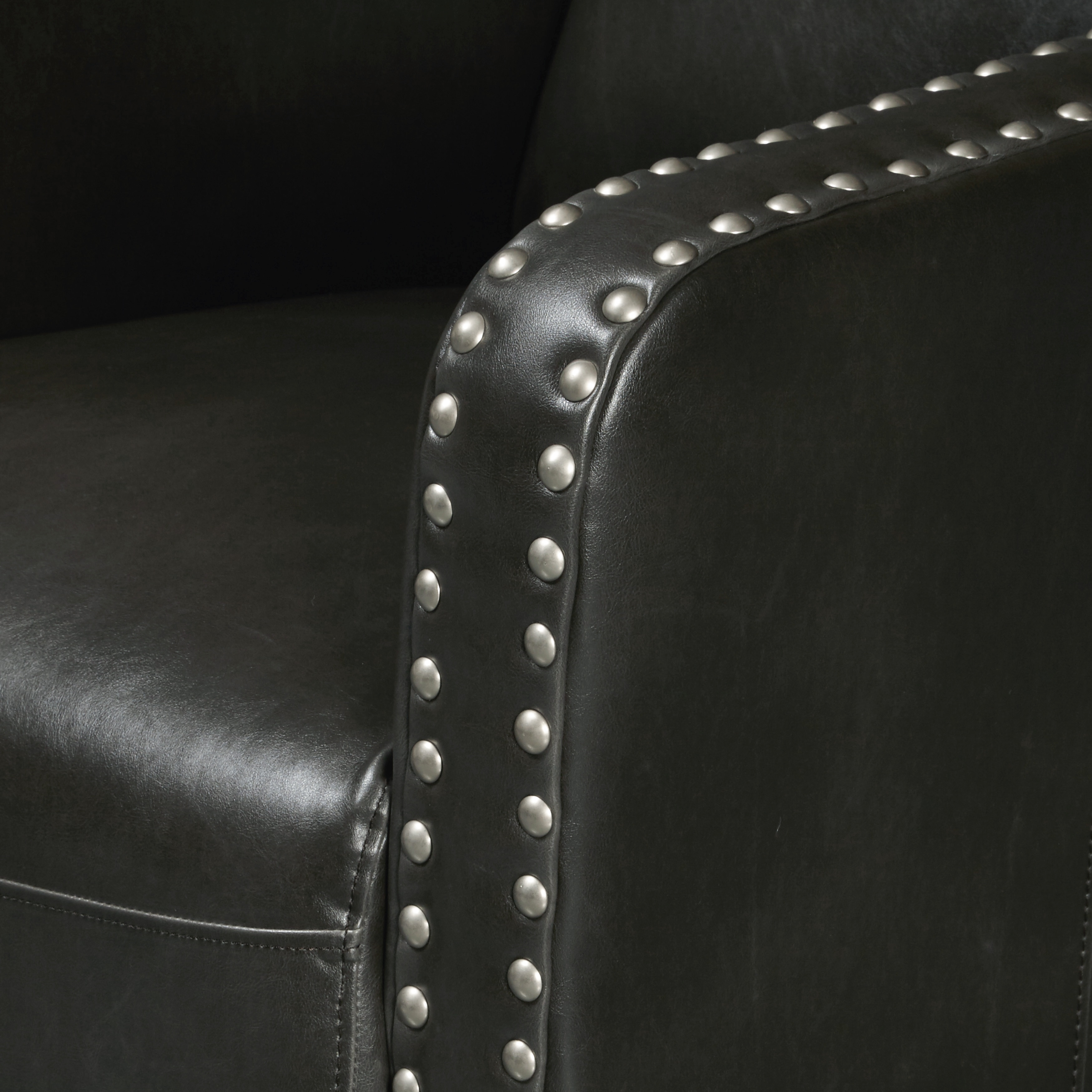 Charcoal Gray Faux Leather Accent Chair With Pewter Nailhead Trim   Free  Shipping Today   Overstock   25521970