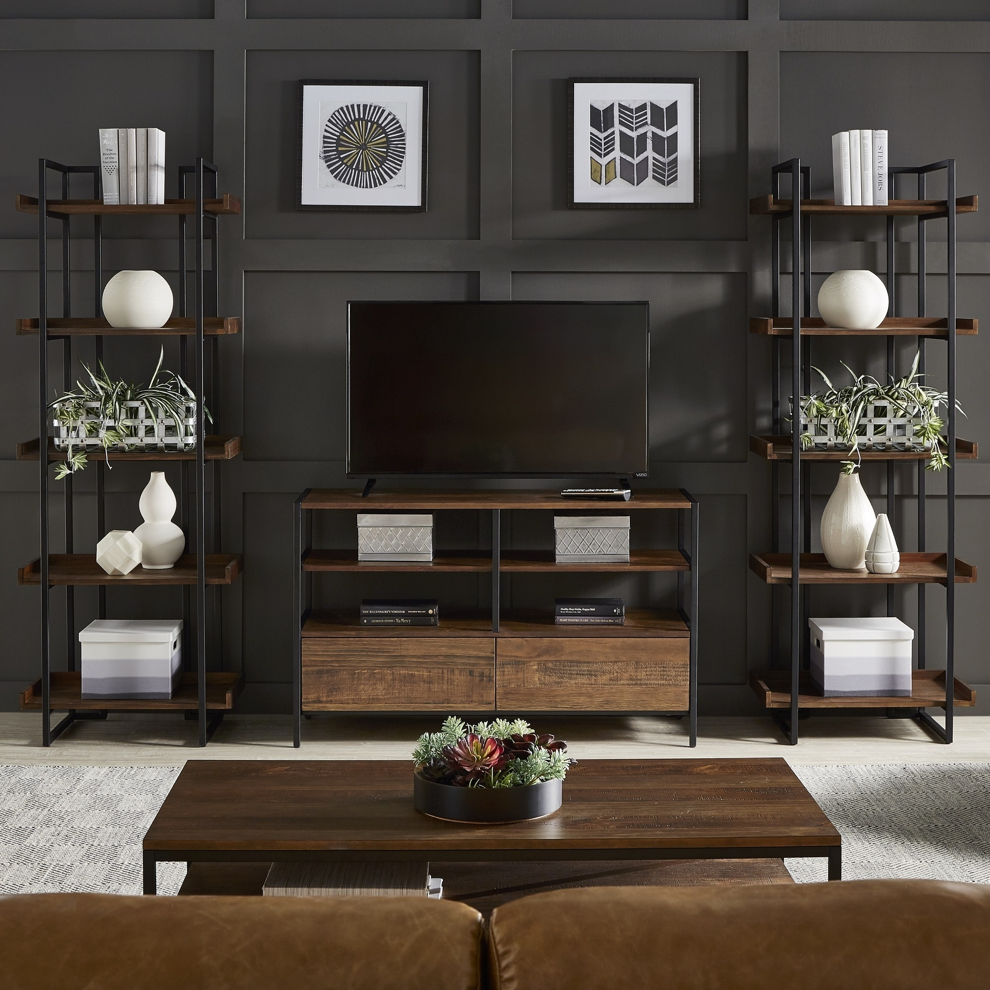 Corey Rustic Brown 3 Piece Entertainment Center By Inspire Q Modern On Free Shipping Today 19531590