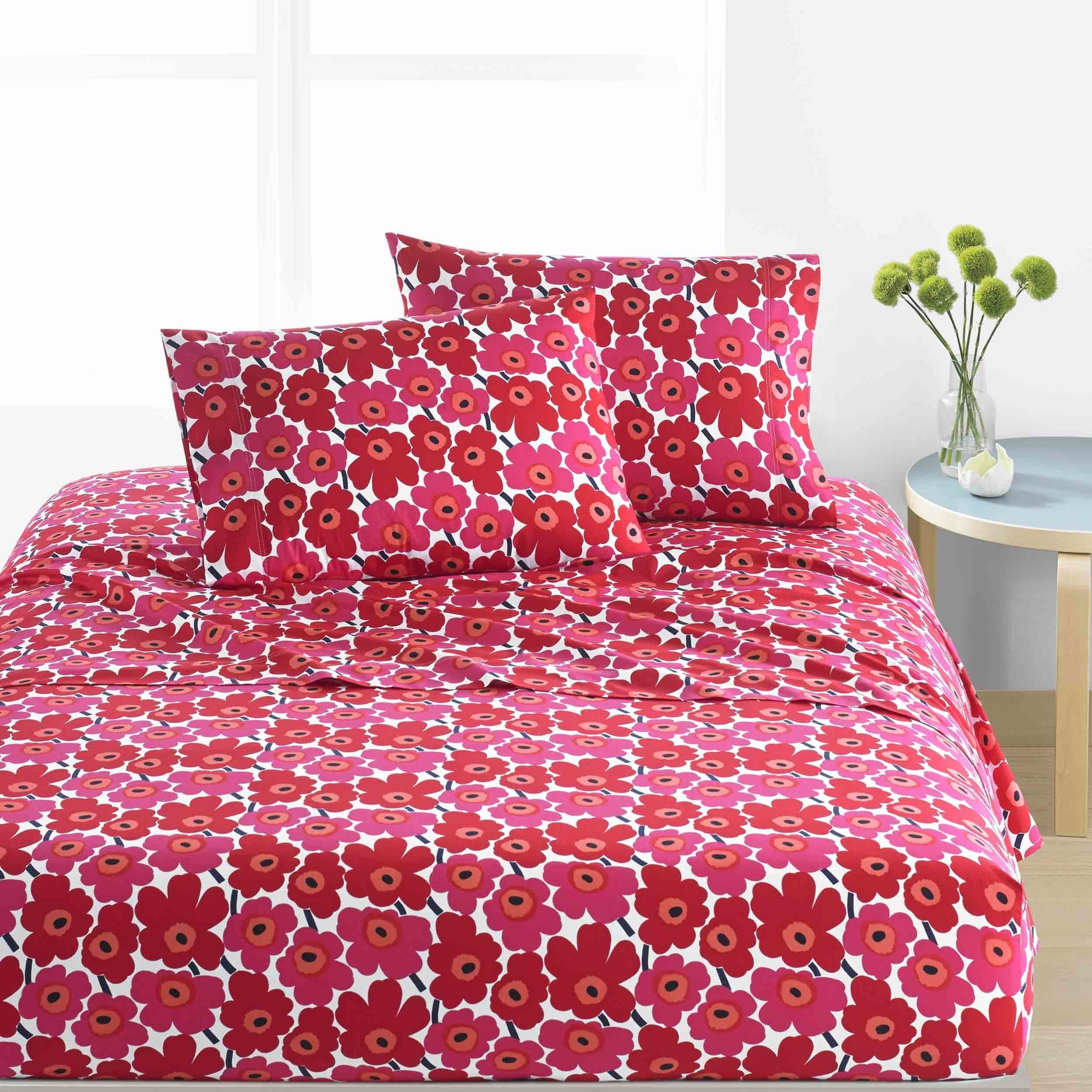 free today product bedding marimekko shipping bath set overstock unikko red bed duvet cover