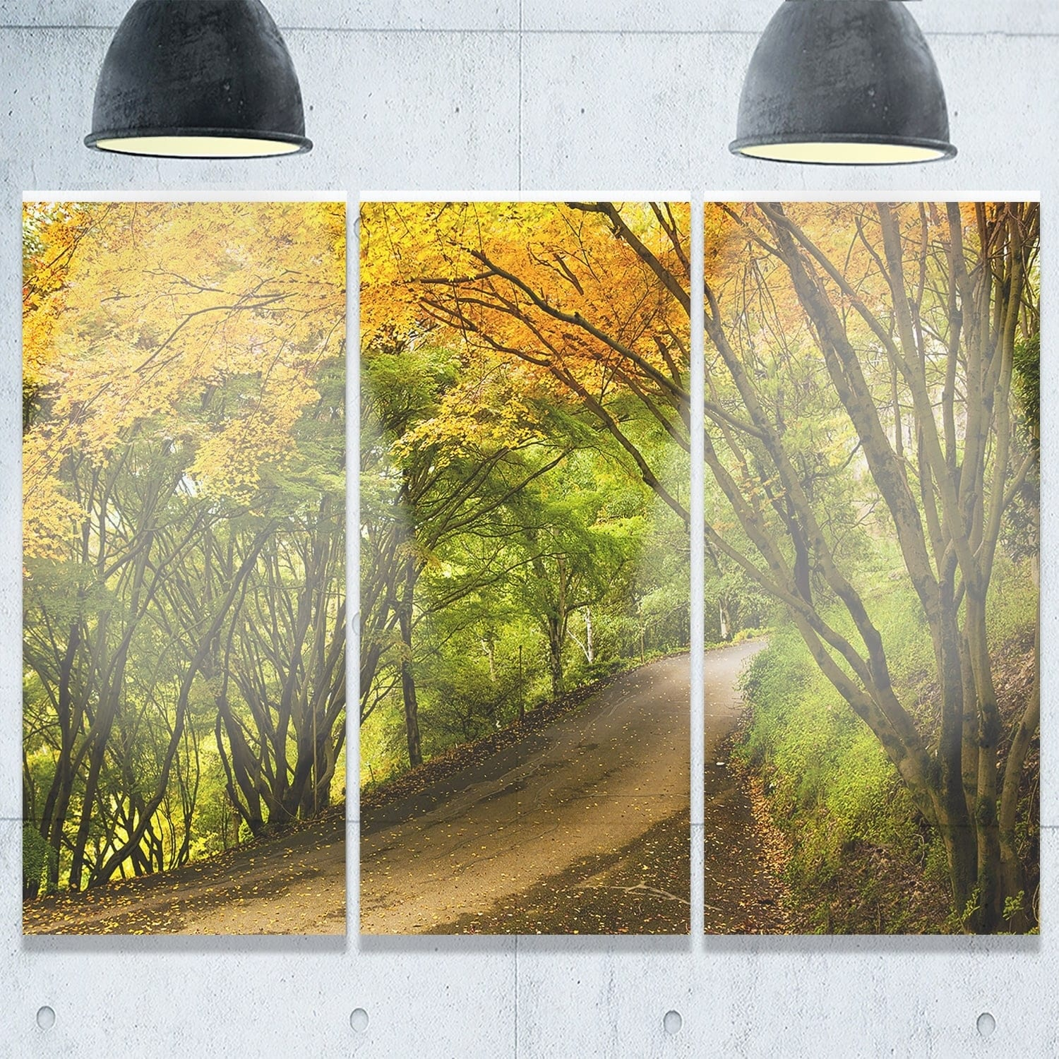 Country Lane in Green Forest - Extra Large Glossy Metal Wall Art ...