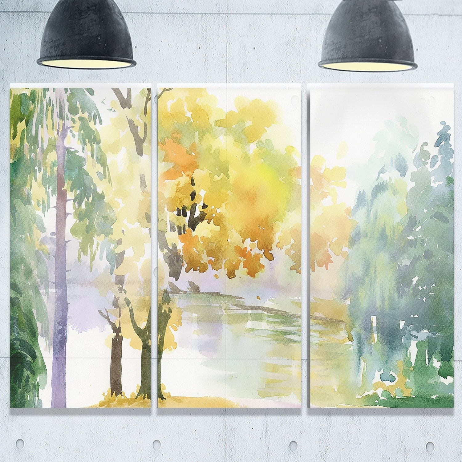 Beautiful Autumn Forest Watercolor - Landscape Glossy Metal Wall Art ...