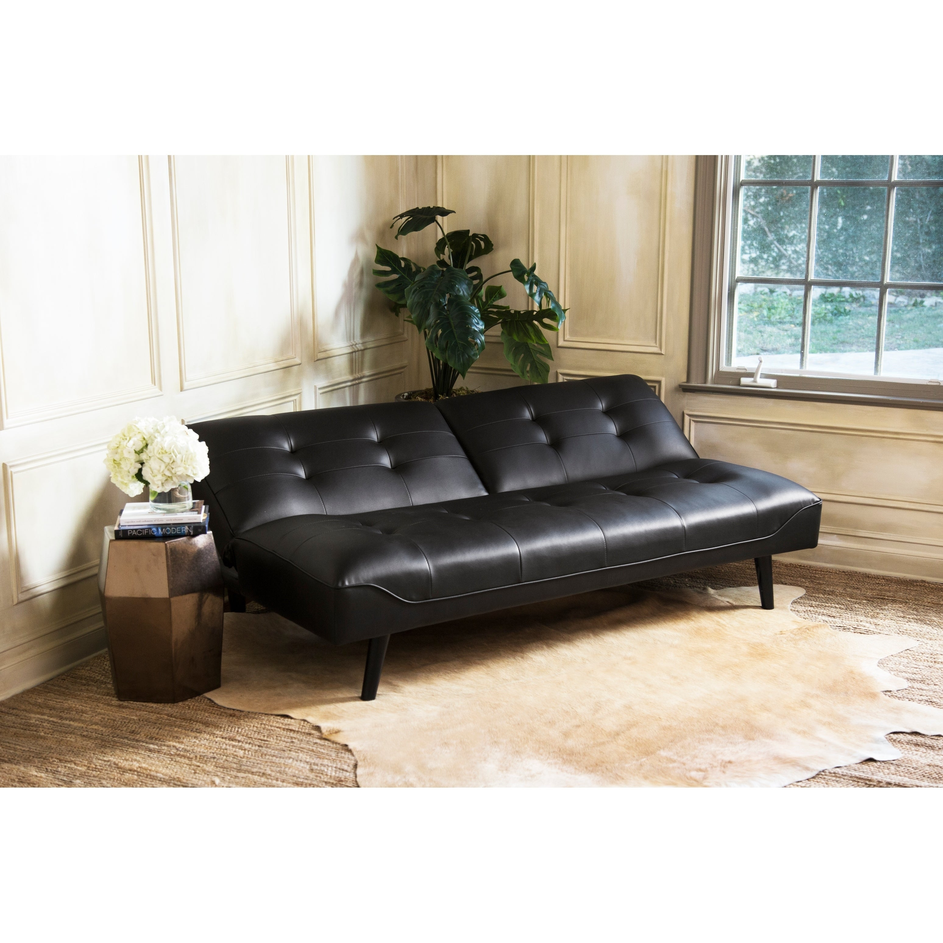 Medium image of abbyson venice bonded leather futon   free shipping today   overstock     25524785