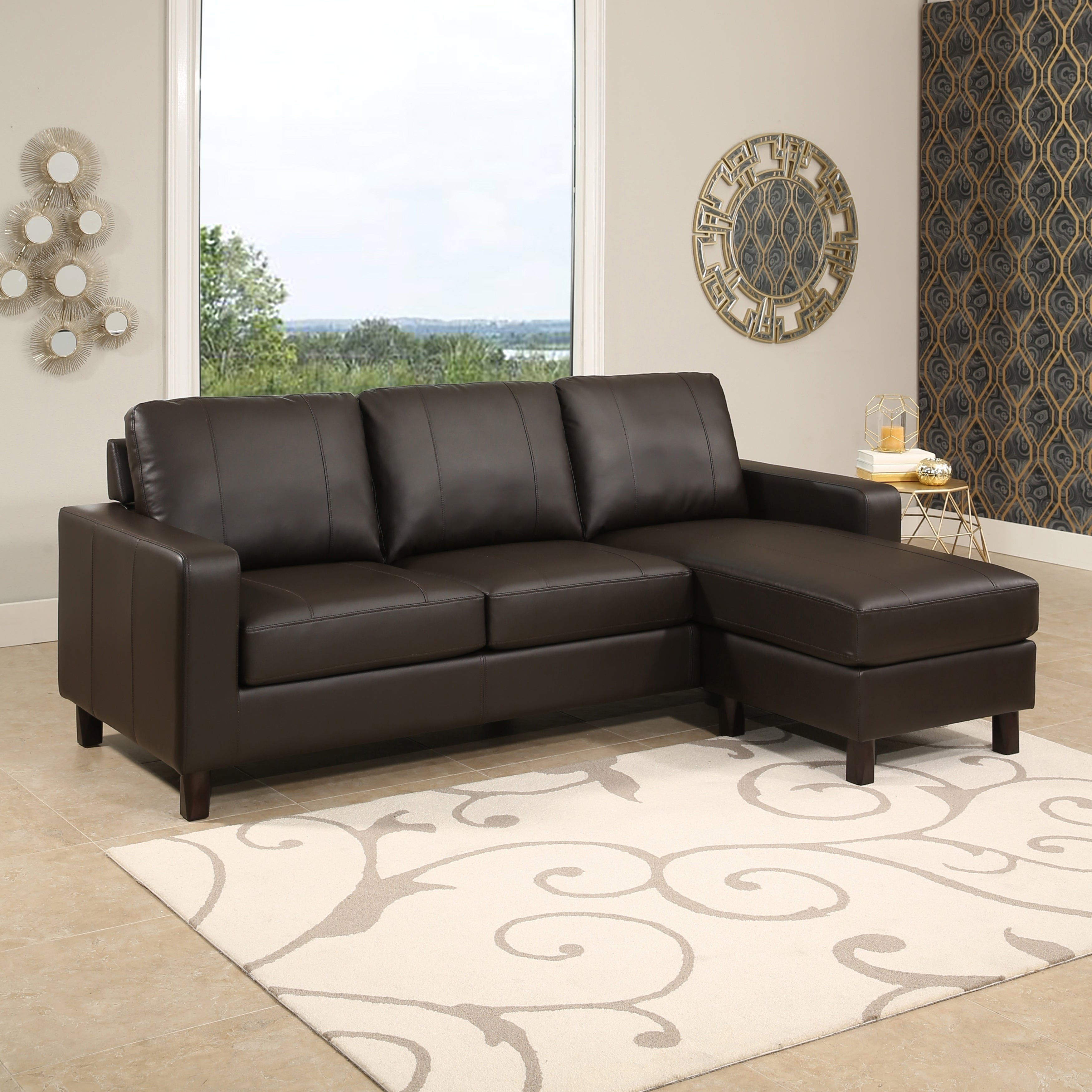 Ordinaire Shop Abbyson Hampton Brown Leather Reversible Sectional And Storage Ottoman    On Sale   Free Shipping Today   Overstock.com   19534996