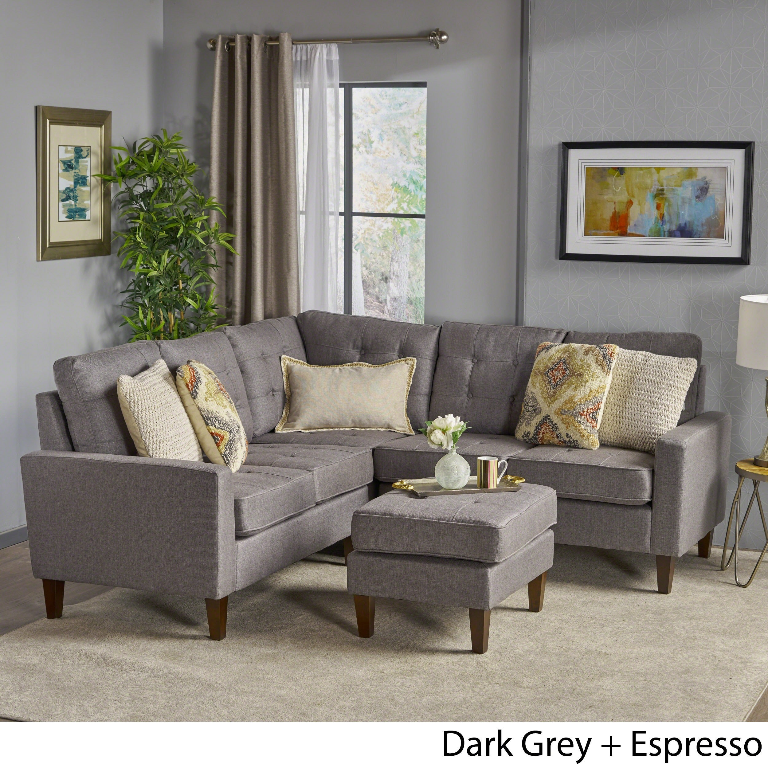Nasir Mid Century Modern 4-piece Sectional Sofa Set by Christopher Knight  Home