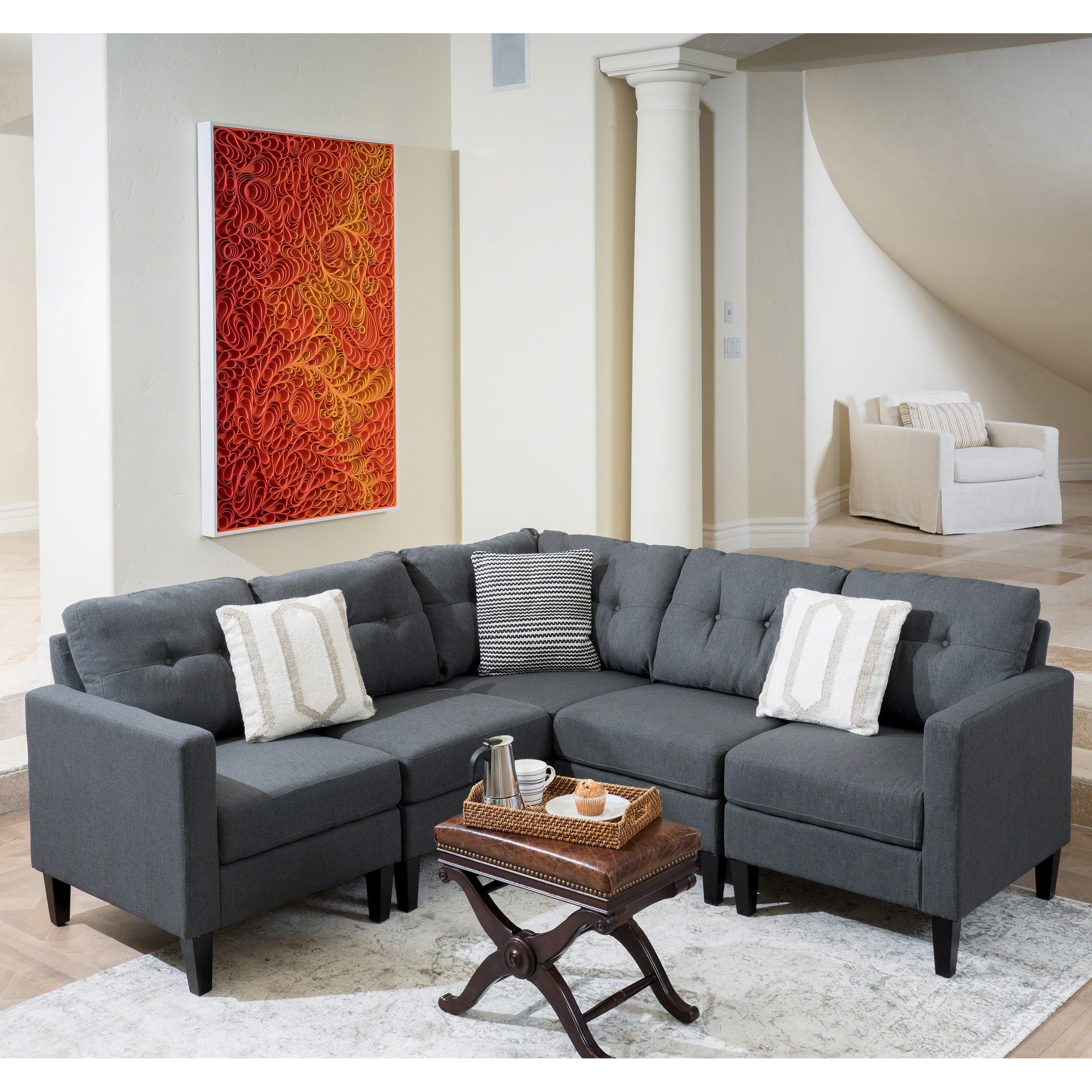 Shop Emmie Mid Century Modern 5 piece Sectional Sofa Set by
