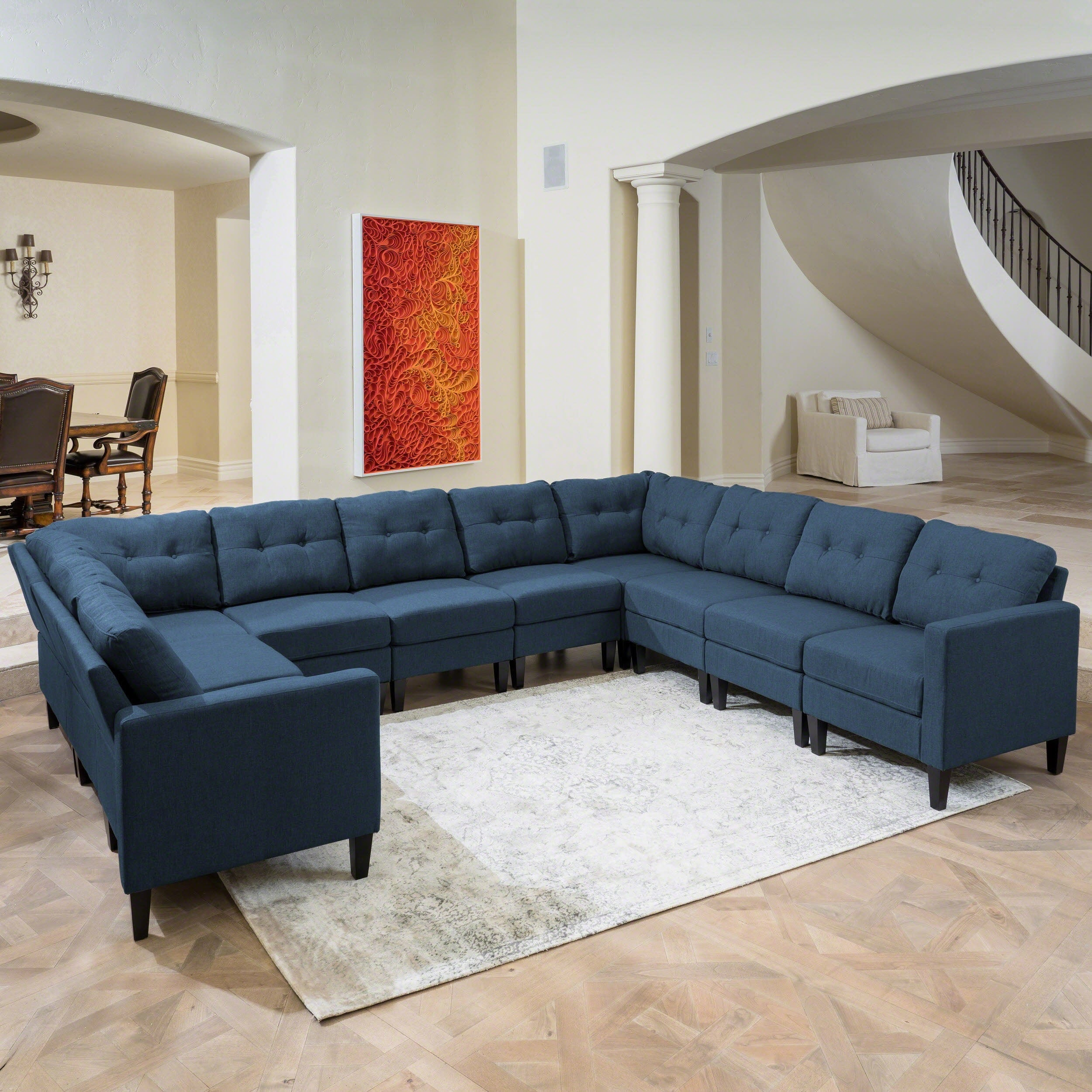Shop emmie mid century modern 10 piece u shaped sectional sofa set by christopher knight home free shipping today overstock 19538564
