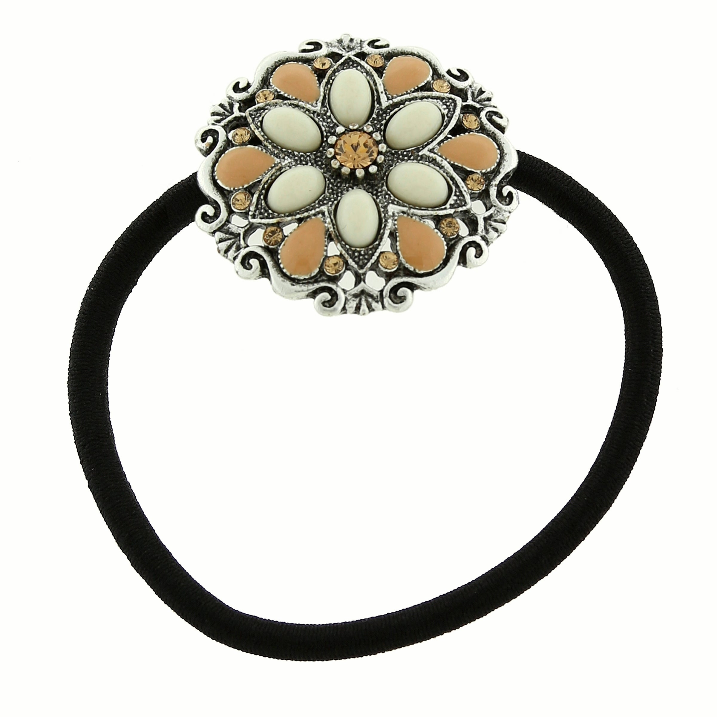 Shop 1928 Jewelry Silver Tone Ivory Color Flower Ponytail Holder with  Swarovski Crystals - Free Shipping On Orders Over  45 - Overstock.com -  19548527 b931cb2f410