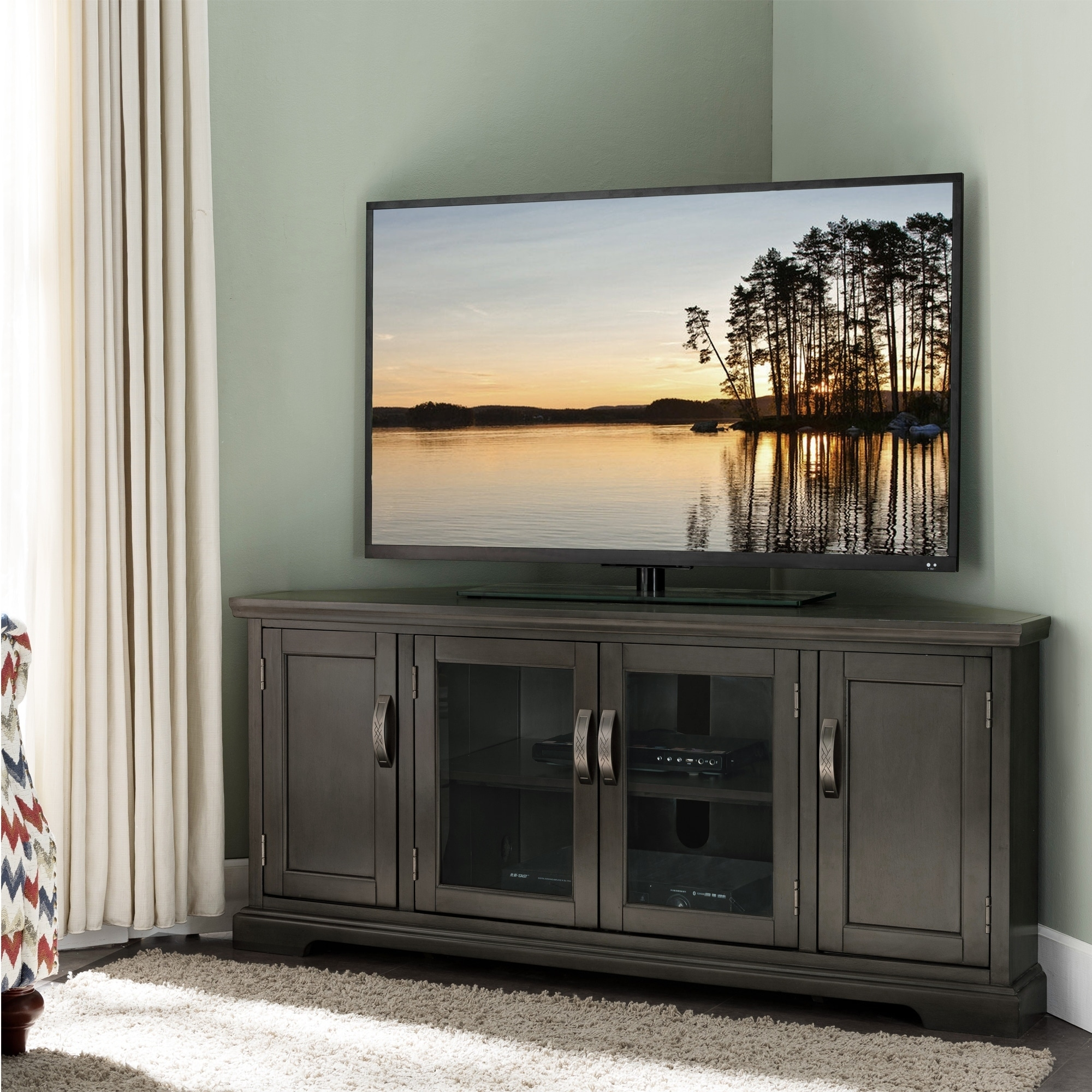 Shop copper grove janie grey oak 57 inch corner entertainment tv console on sale free shipping today overstock com 22751419