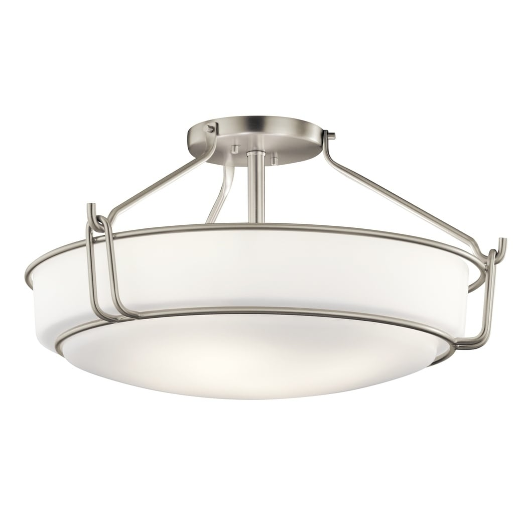 Shop kichler lighting alkire collection 4 light brushed nickel semi flush mount free shipping today overstock 19548786