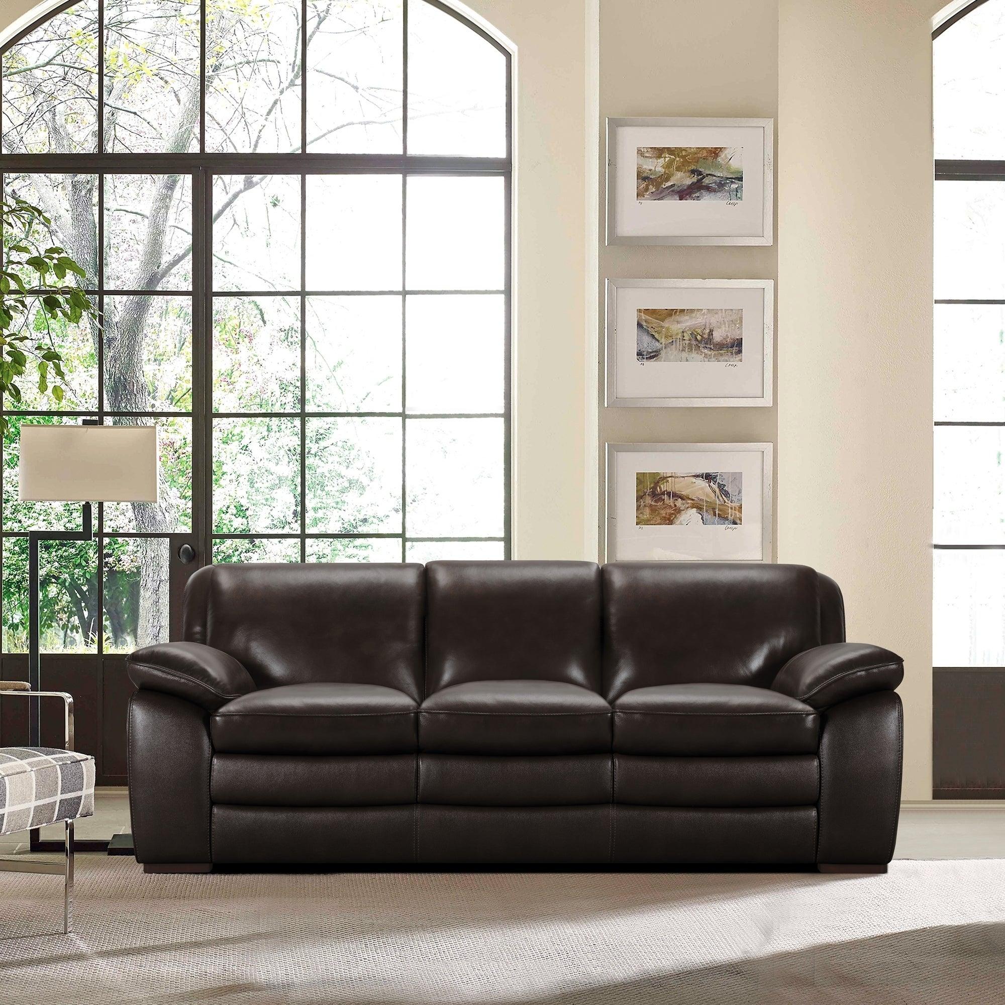 Armen Living Zanna Contemporary Sofa in Genuine Dark Brown Leather ...