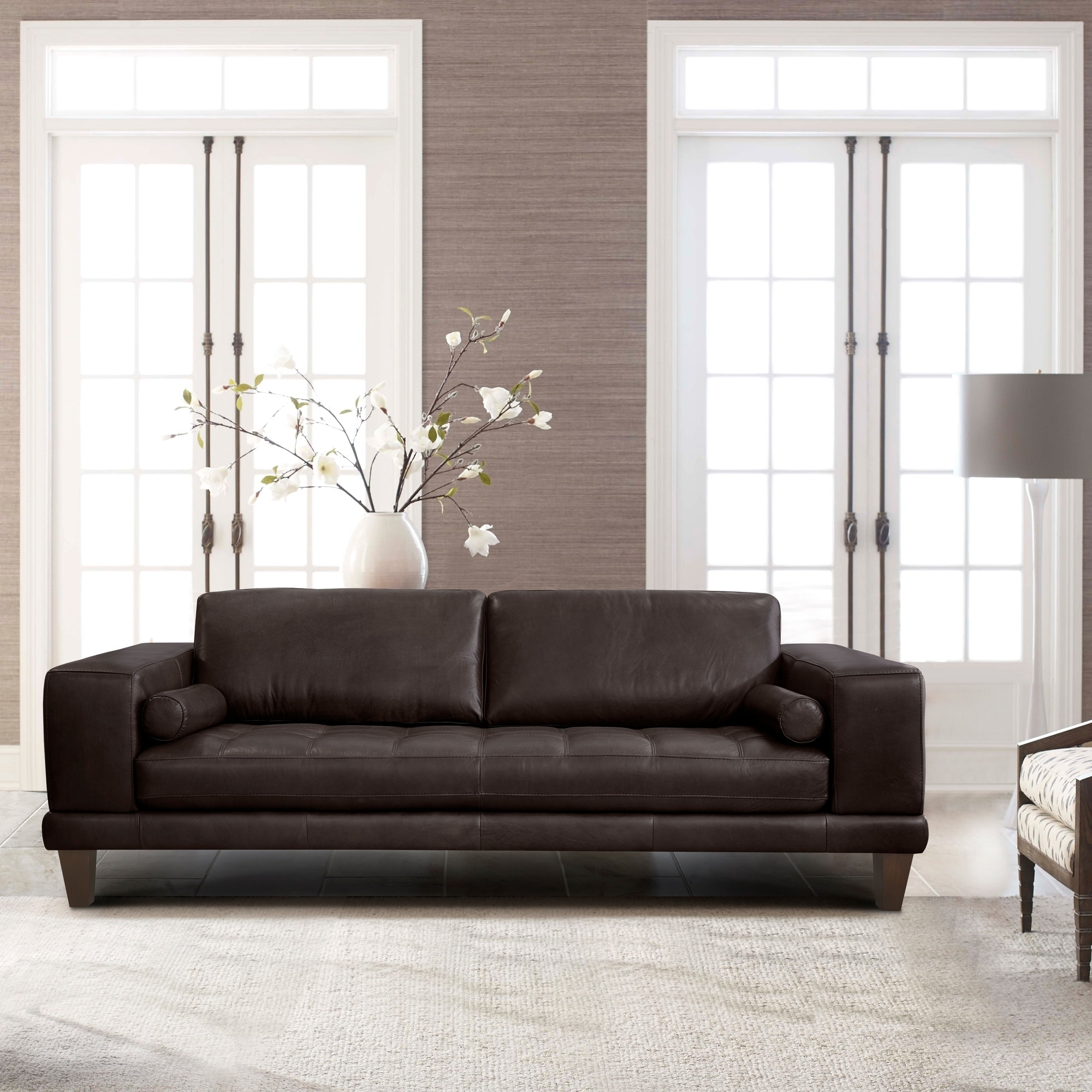 Shop Armen Living Wynne Contemporary Sofa in Genuine Espresso ...