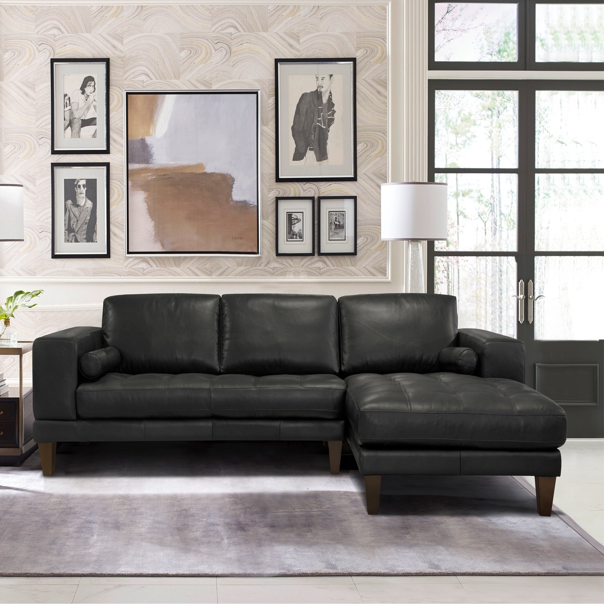 Armen Living Wynne Contemporary Sectional In Genuine Black Leather On Free Shipping Today 19556368