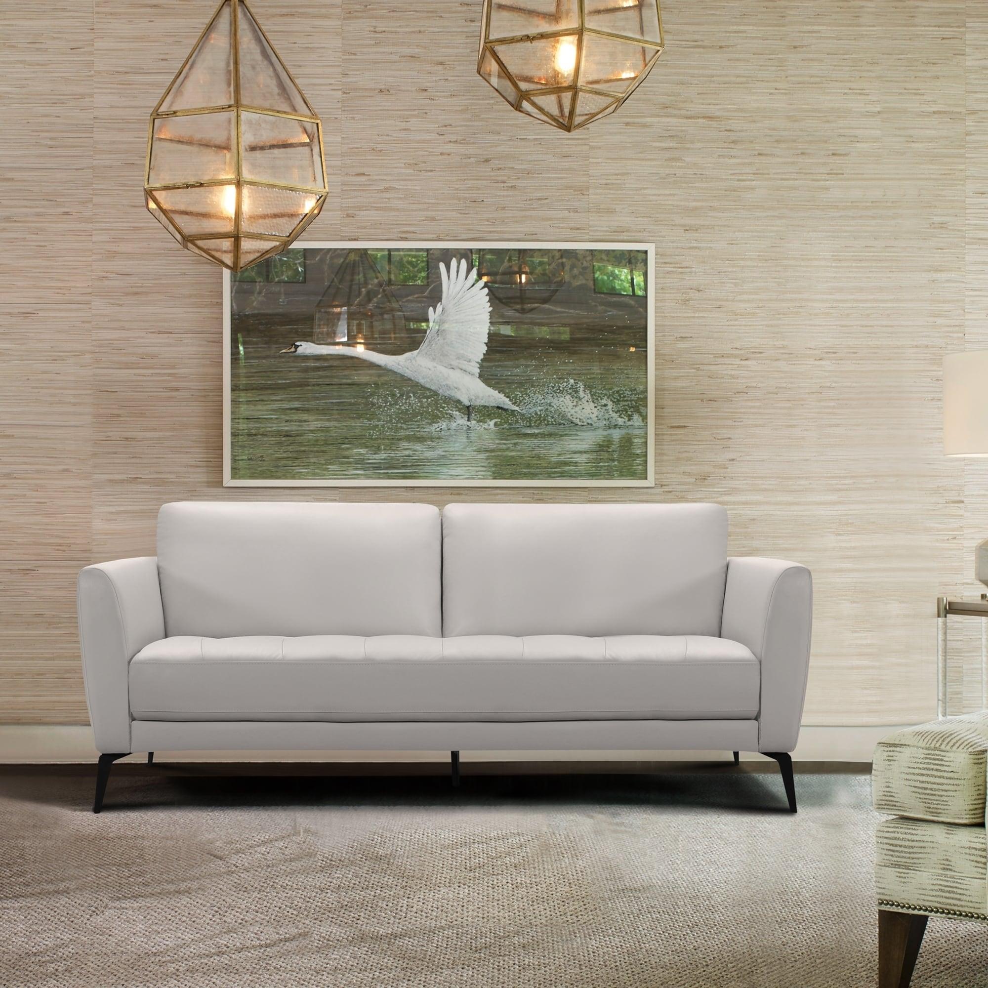 Shop Armen Living Hope Contemporary Sofa in Genuine Dove Grey ...